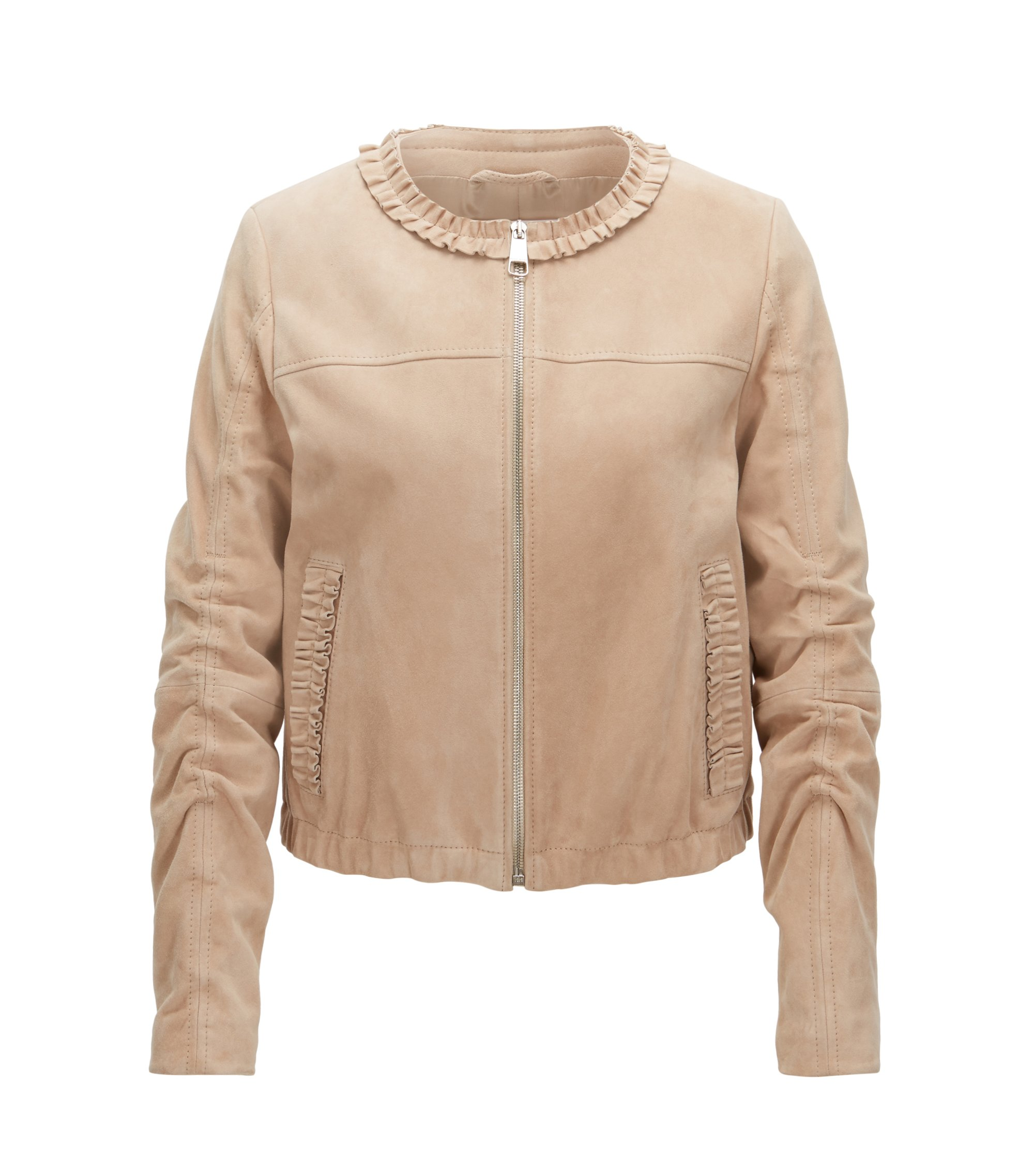 Collarless jacket in soft suede leather, Beige