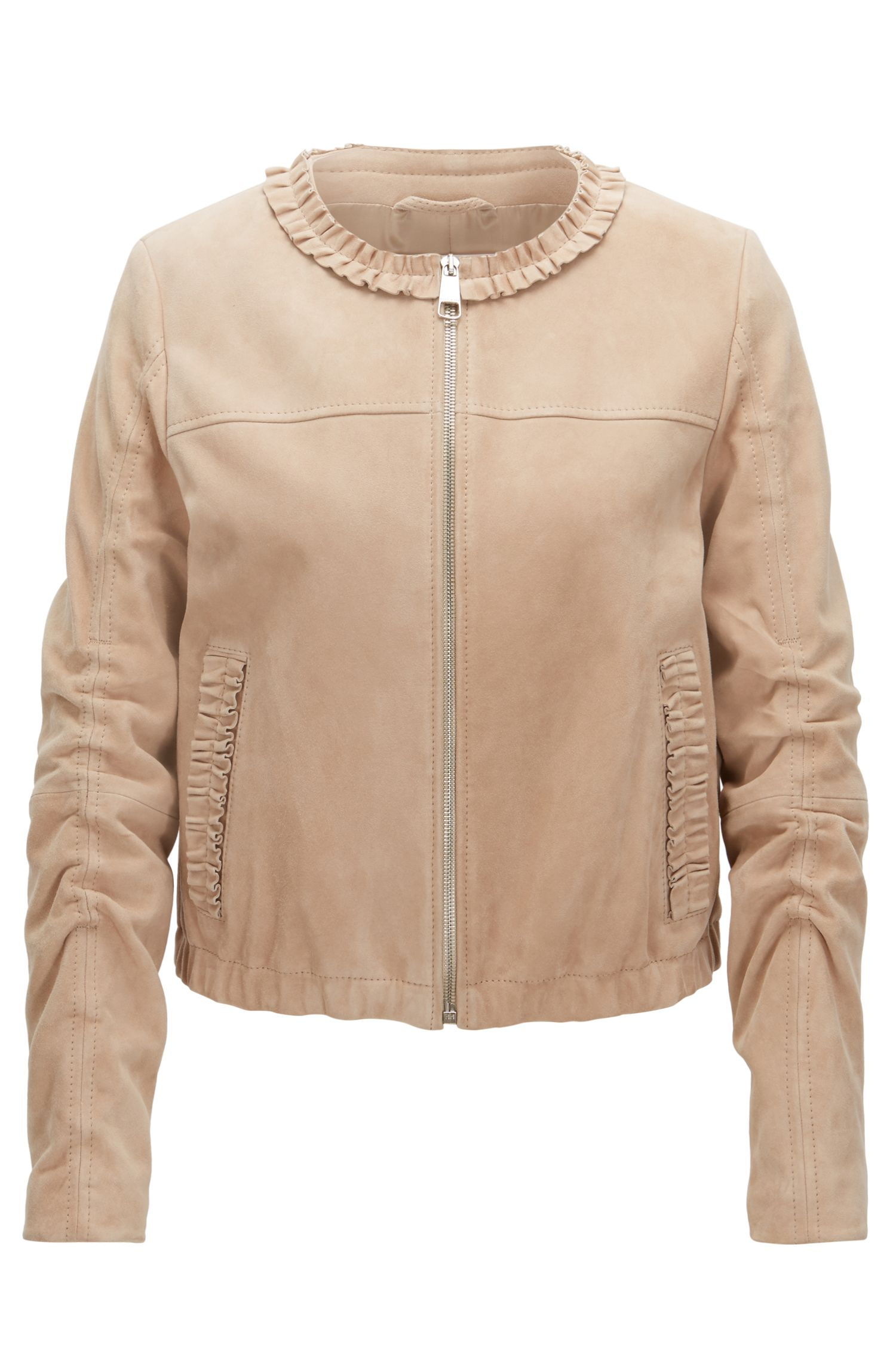 Collarless jacket in soft suede leather