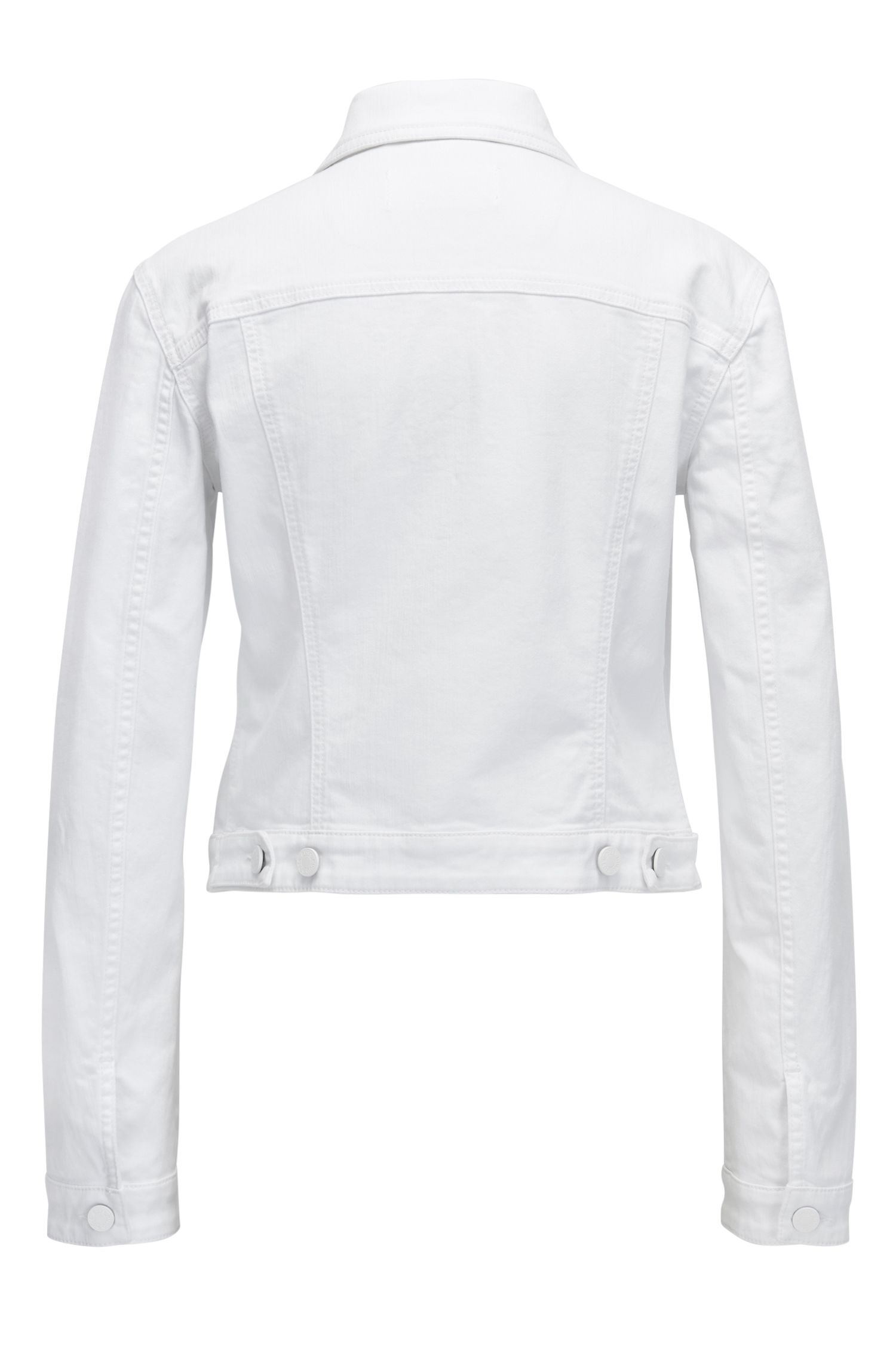 White denim jacket with tonal buttons