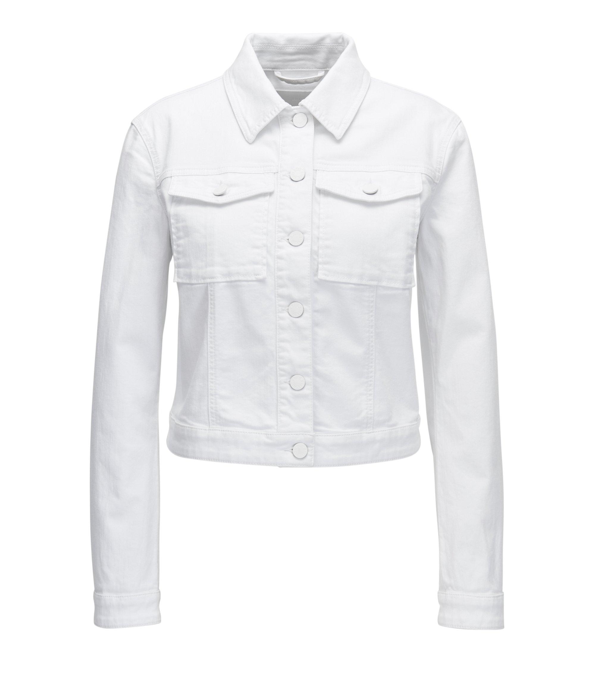 White denim jacket with tonal buttons, White