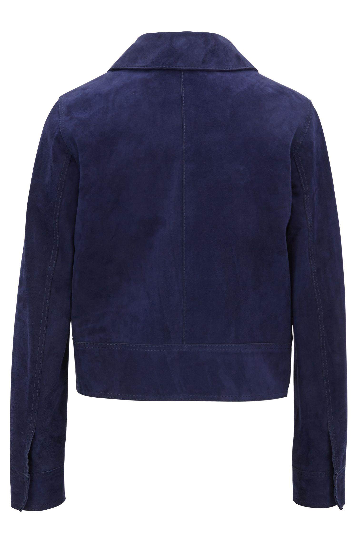 Giacca regular fit in pelle scamosciata con tasca