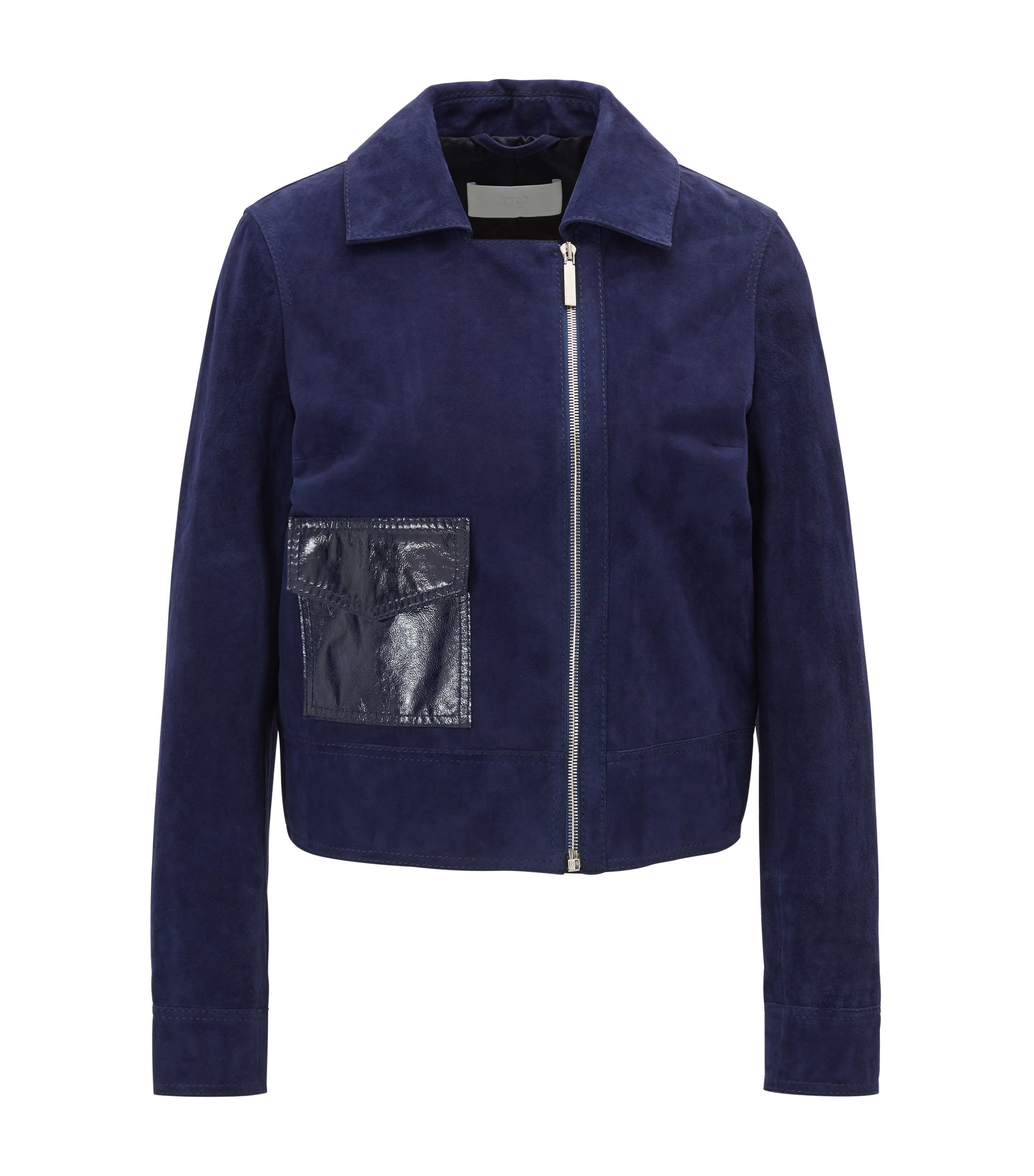 Regular-fit suede jacket with feature pocket, Blue