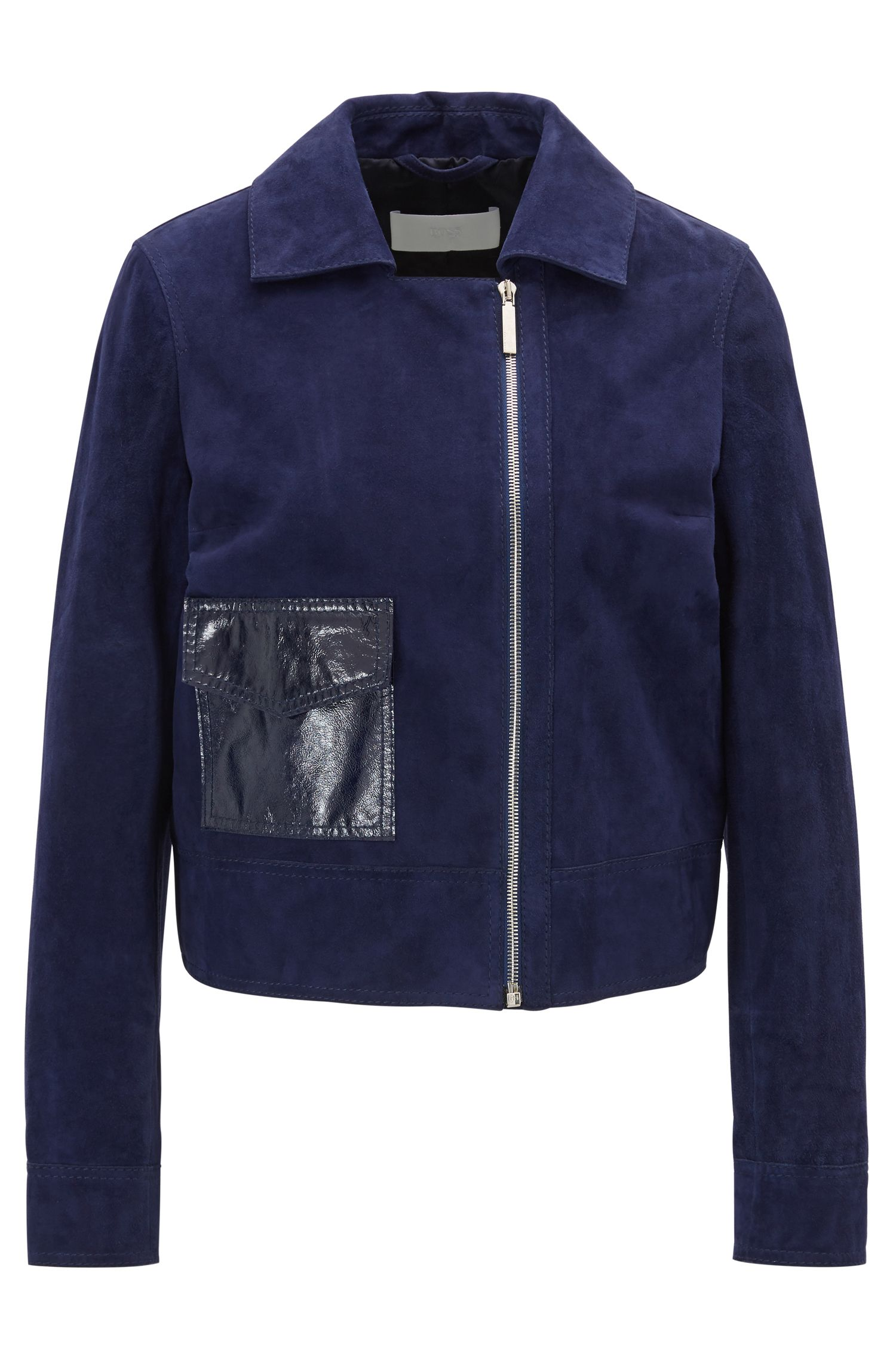 Regular-fit suede jacket with feature pocket