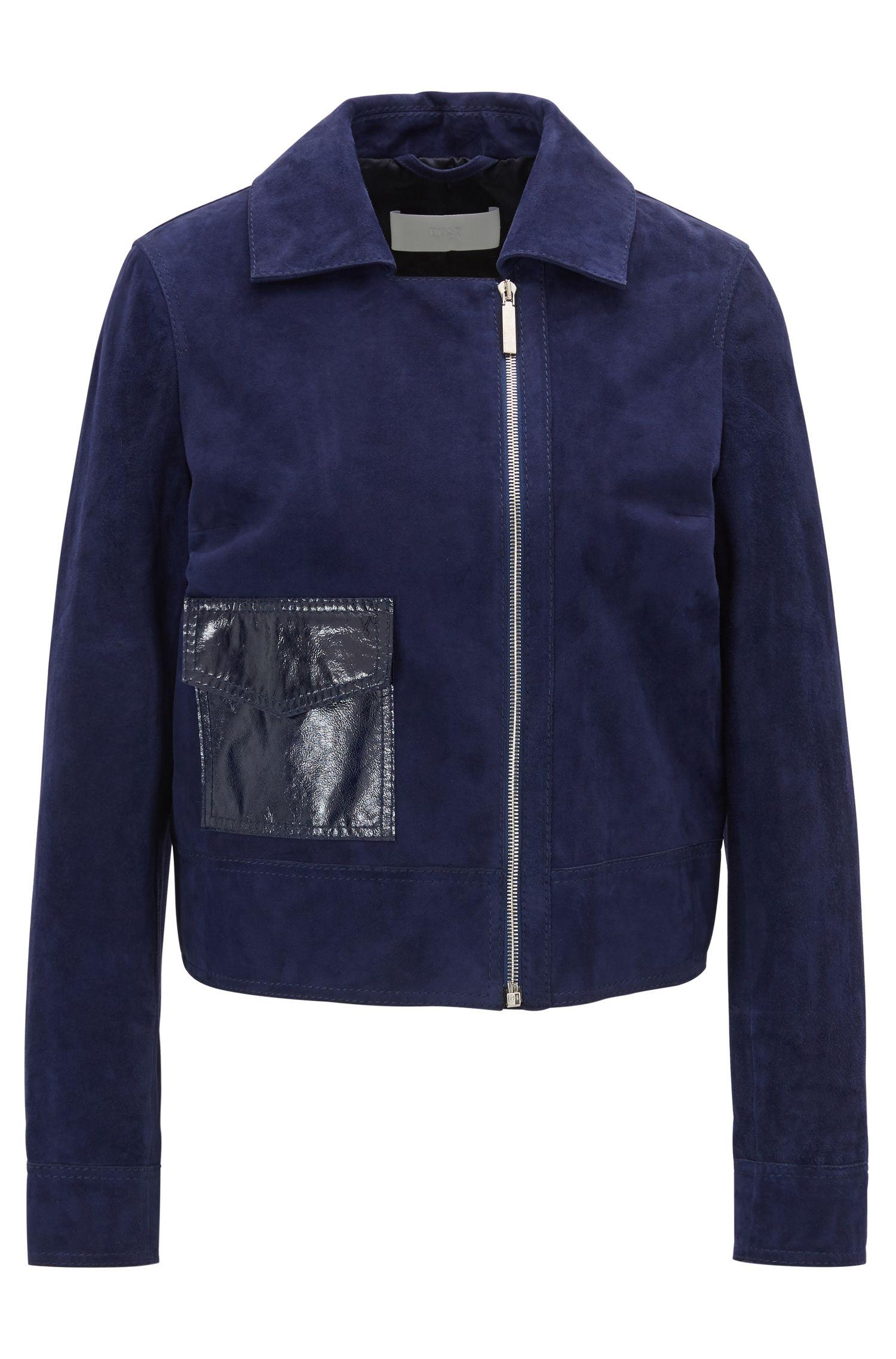 Regular-fit suède jas met uitgesproken zak