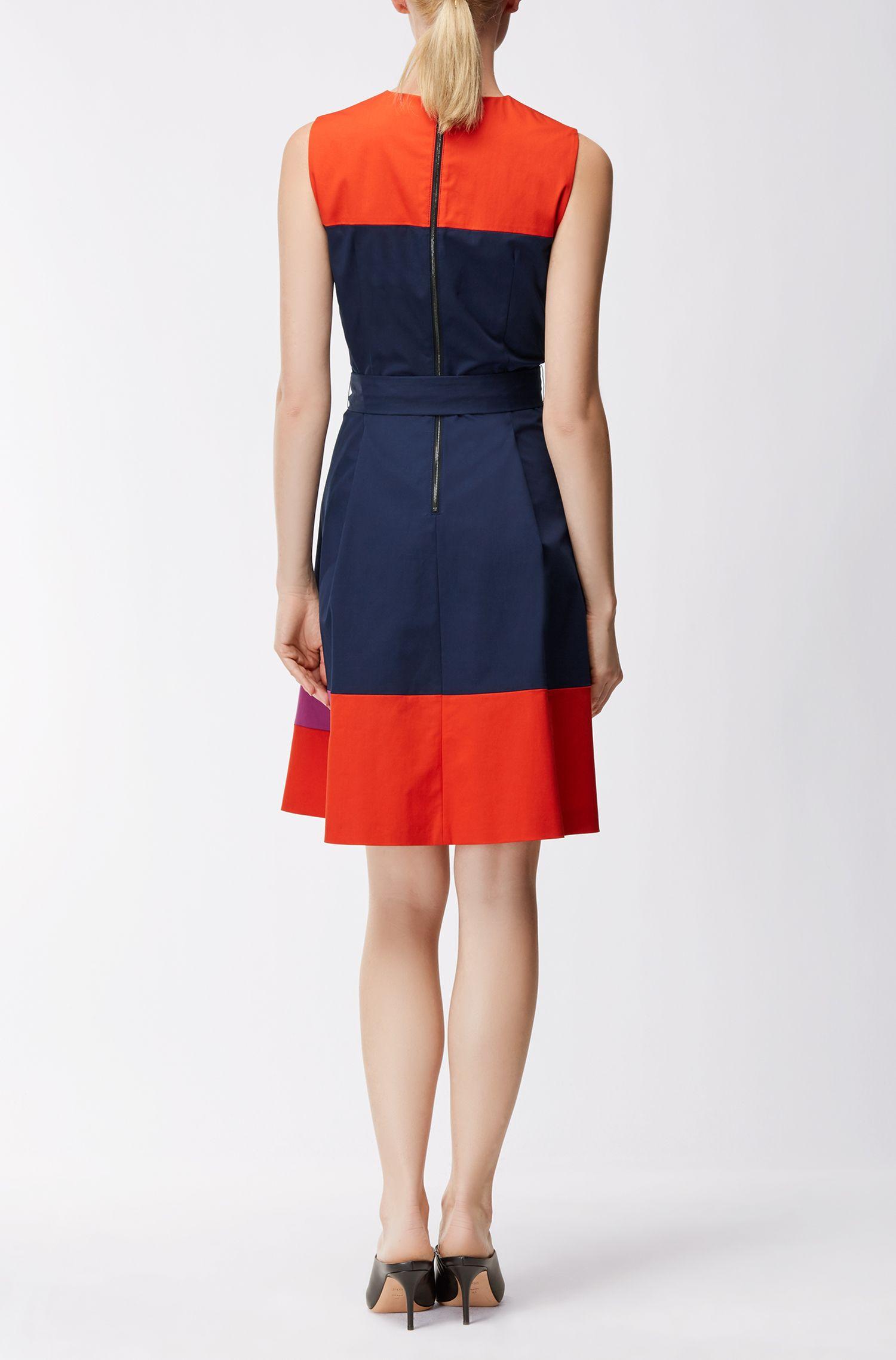 Colourblock mouwloze jurk van stretchkatoenen twill