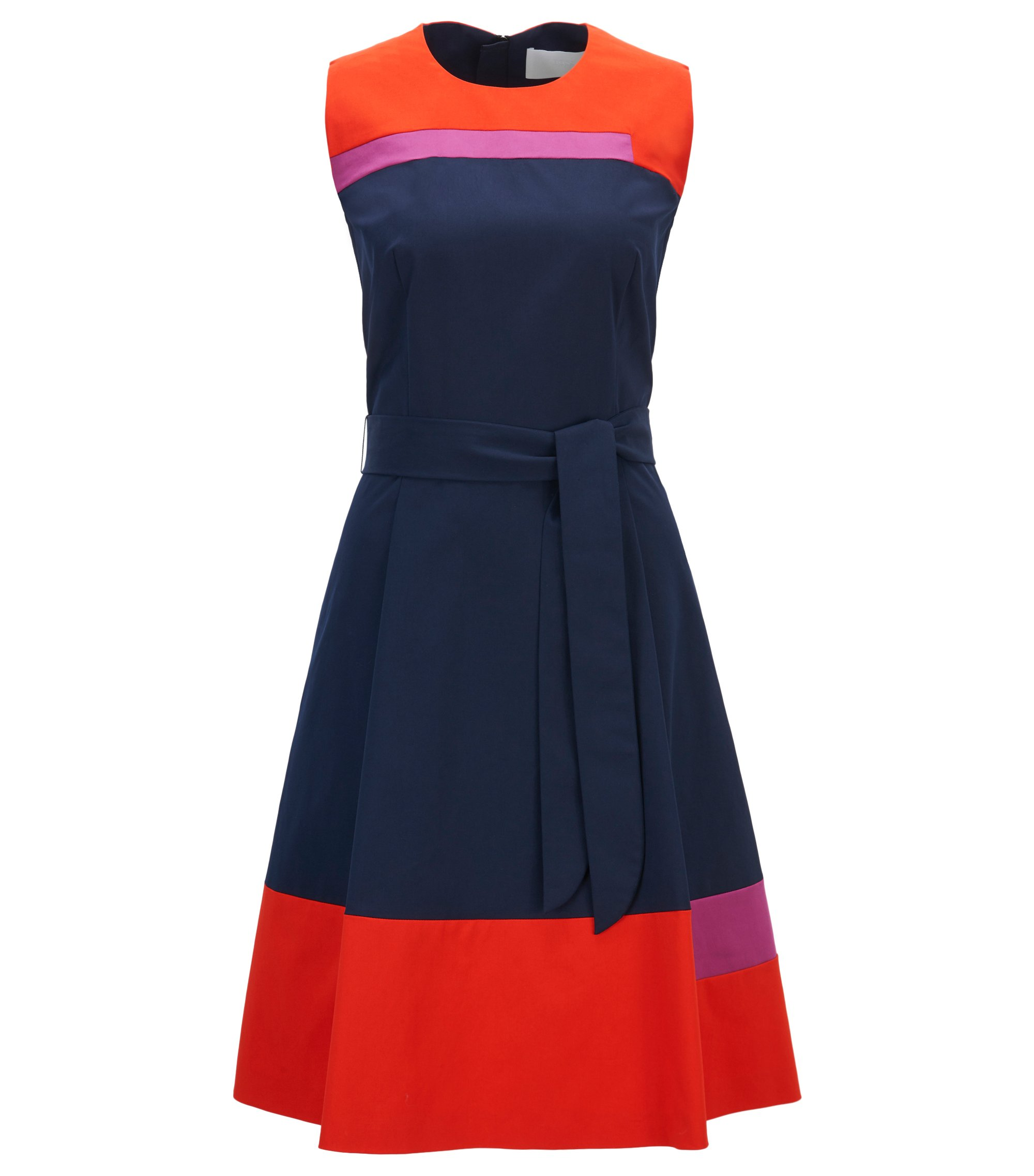 Robe color block sans manches en twill de coton stretch , Bleu