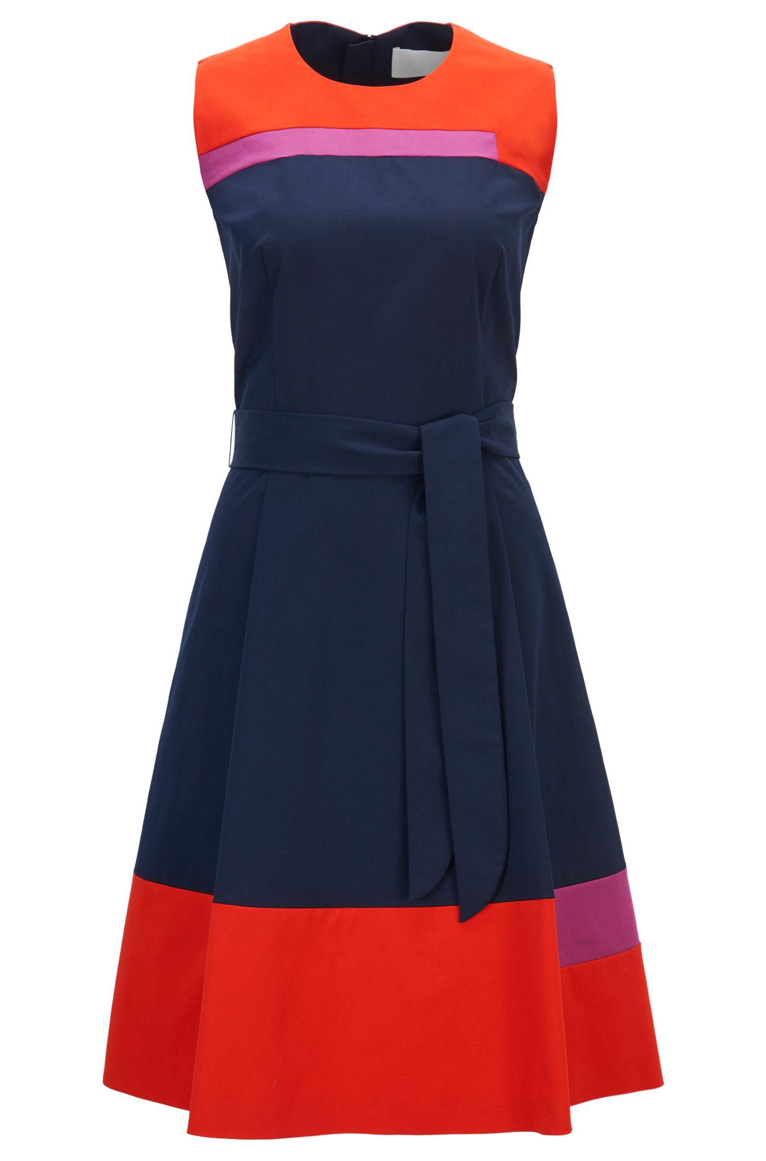 Colourblock sleeveless dress in stretch-cotton twill
