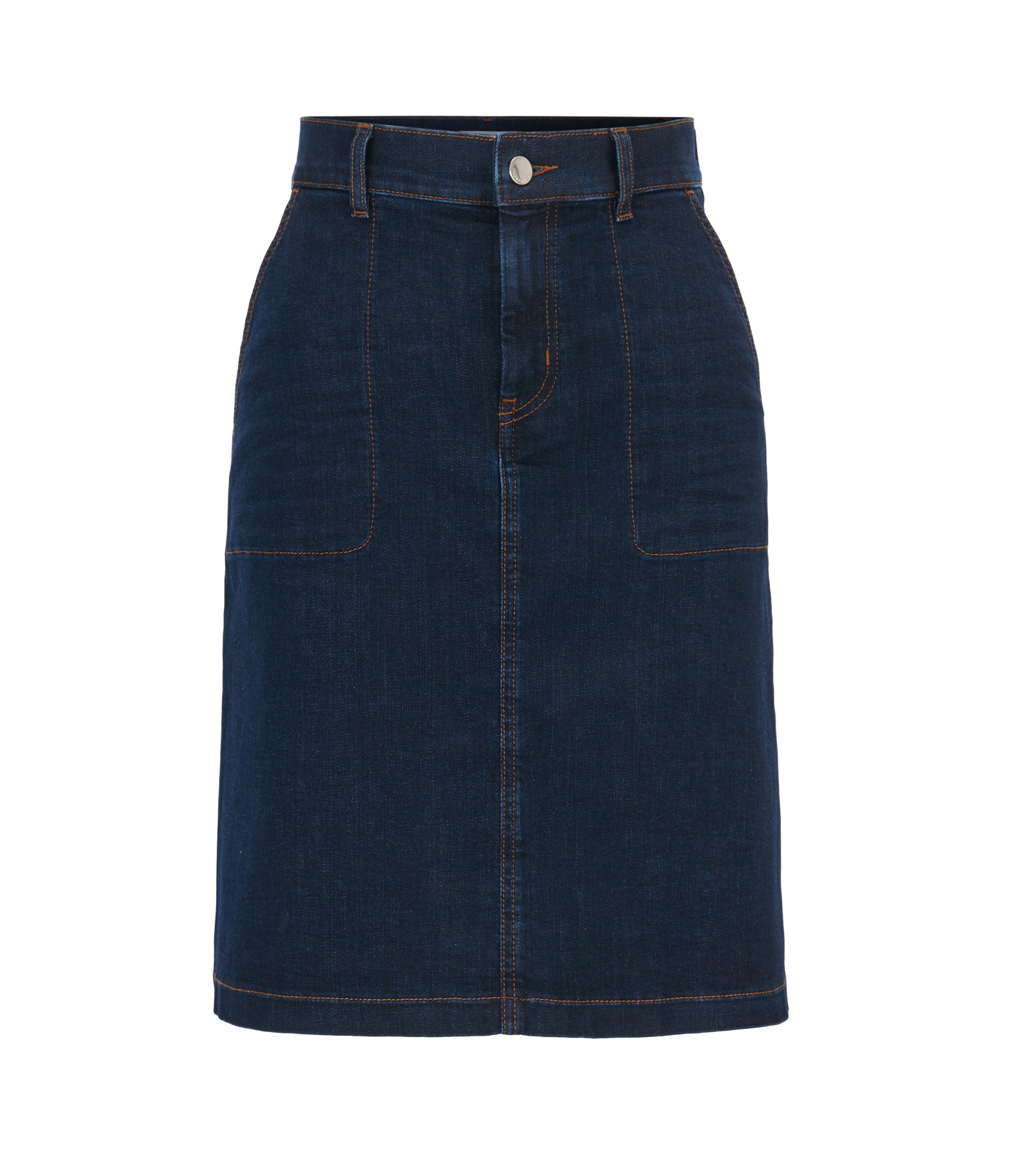 A-line denim skirt with metallic trims, Dark Blue