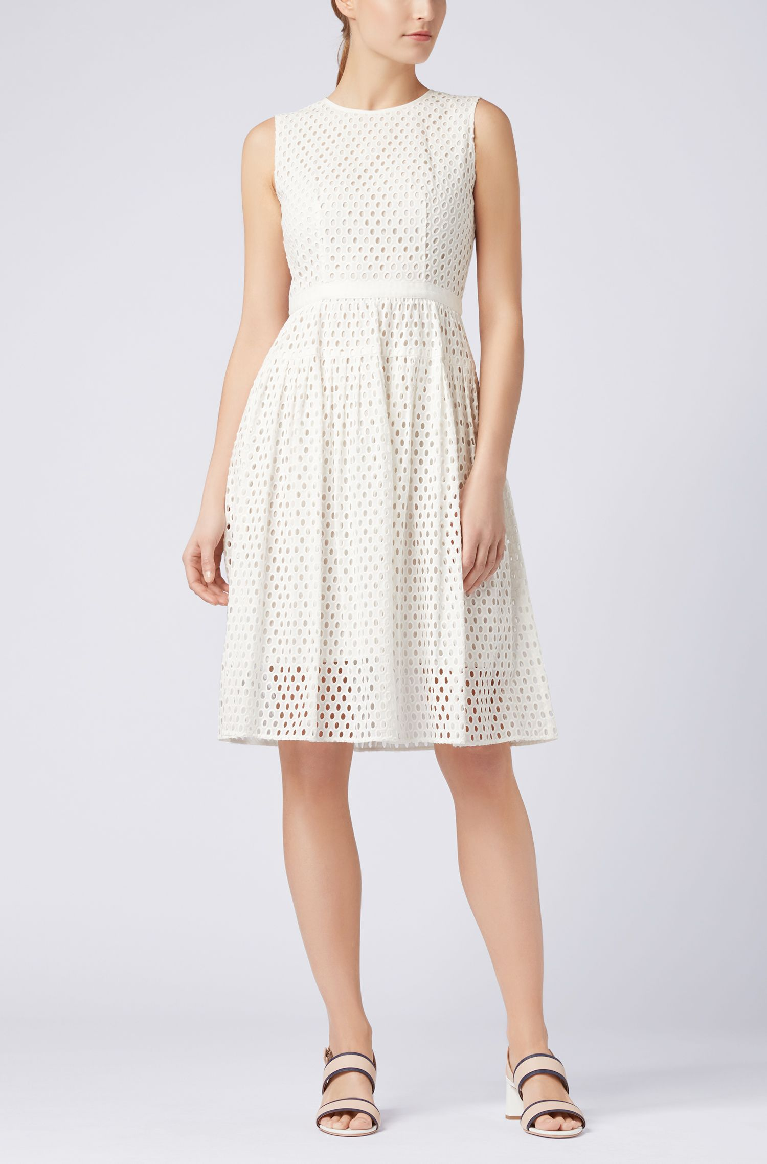 Sleeveless broderie anglaise dress in pure cotton
