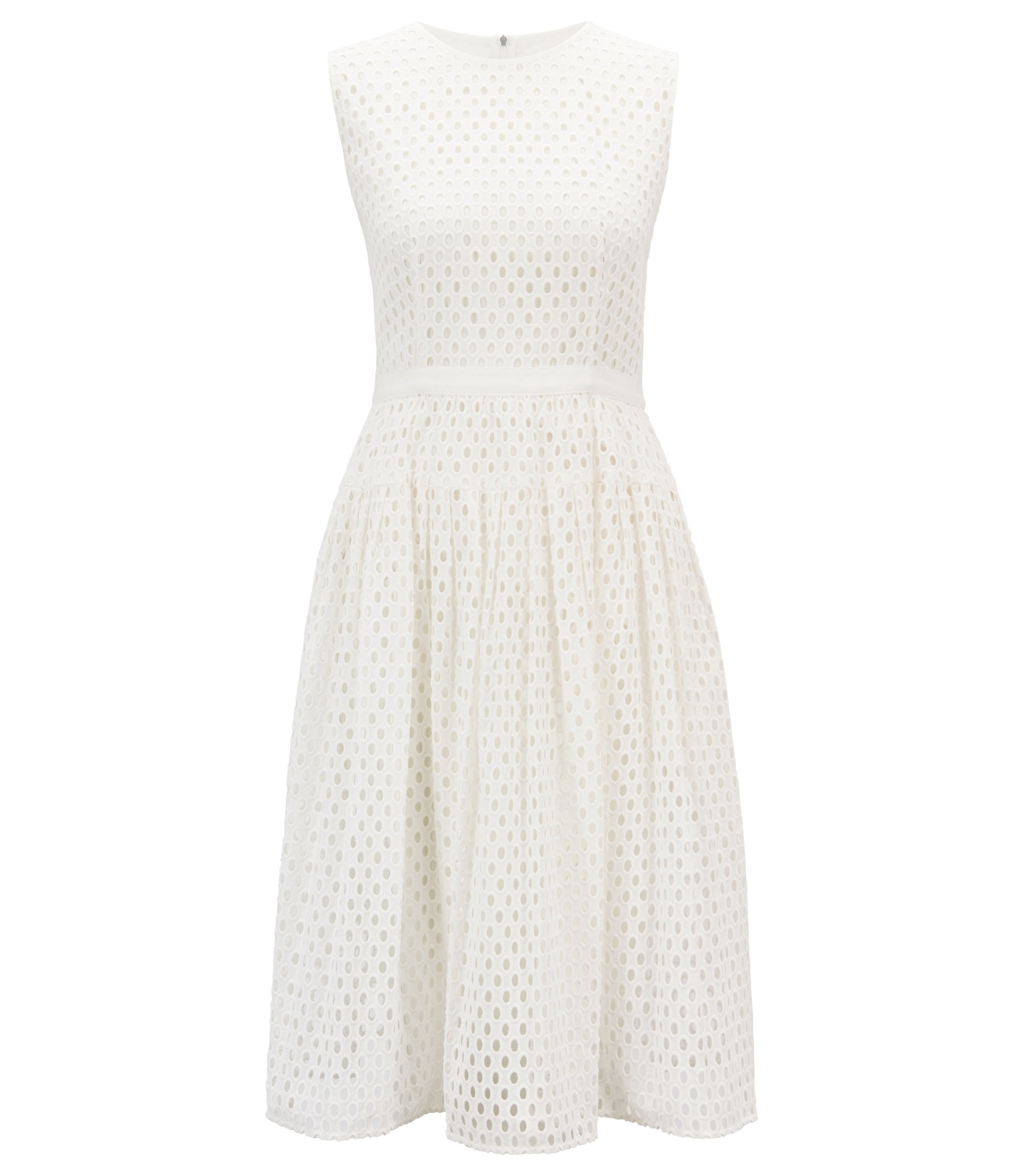 Sleeveless broderie anglaise dress in pure cotton, Natural