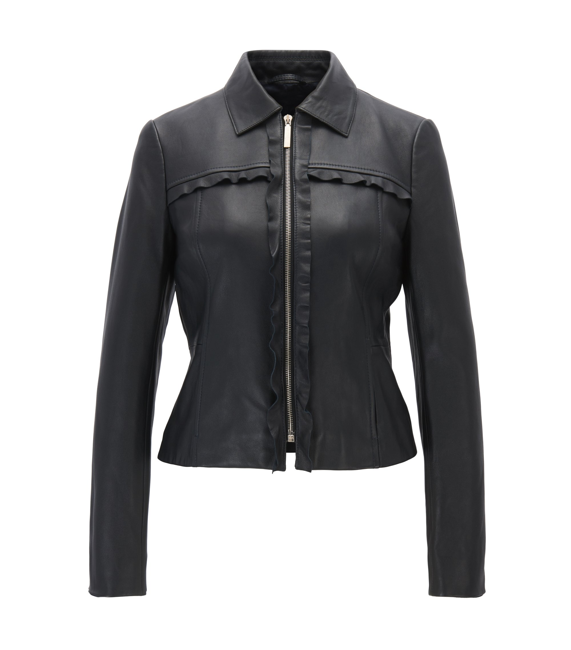 Leather biker jacket with ruffle trims, Dark Blue