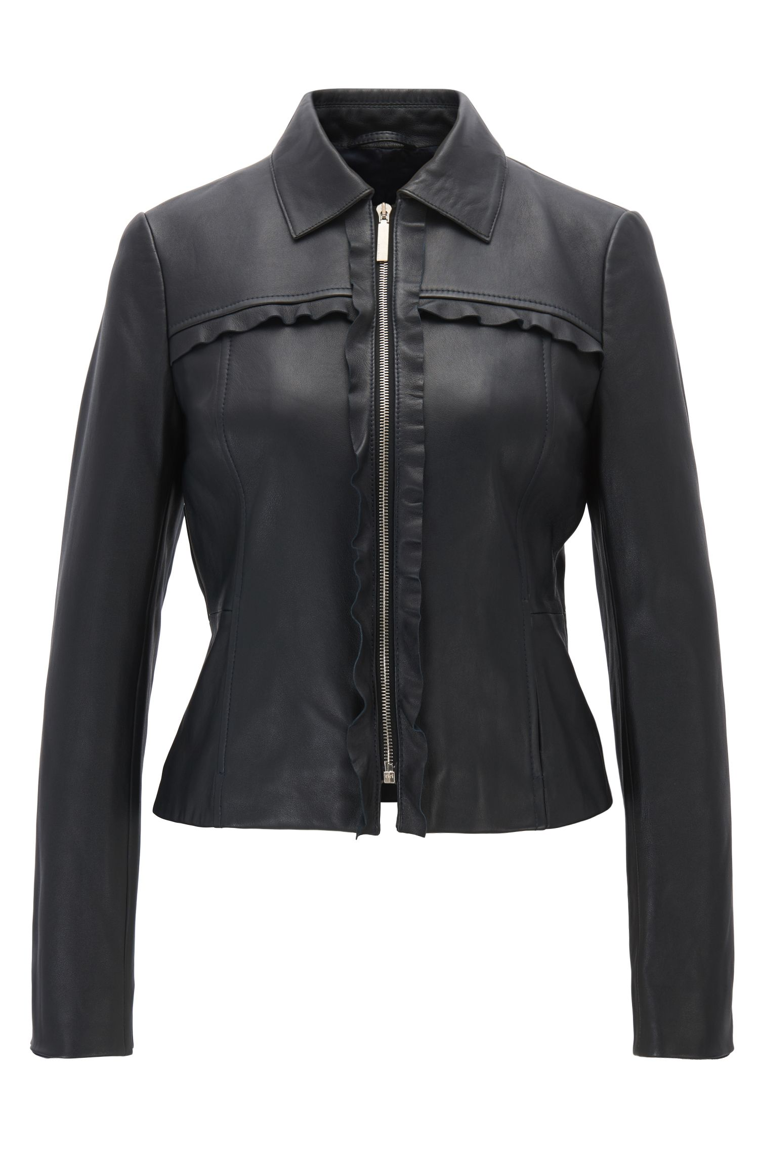 Leather biker jacket with ruffle trims
