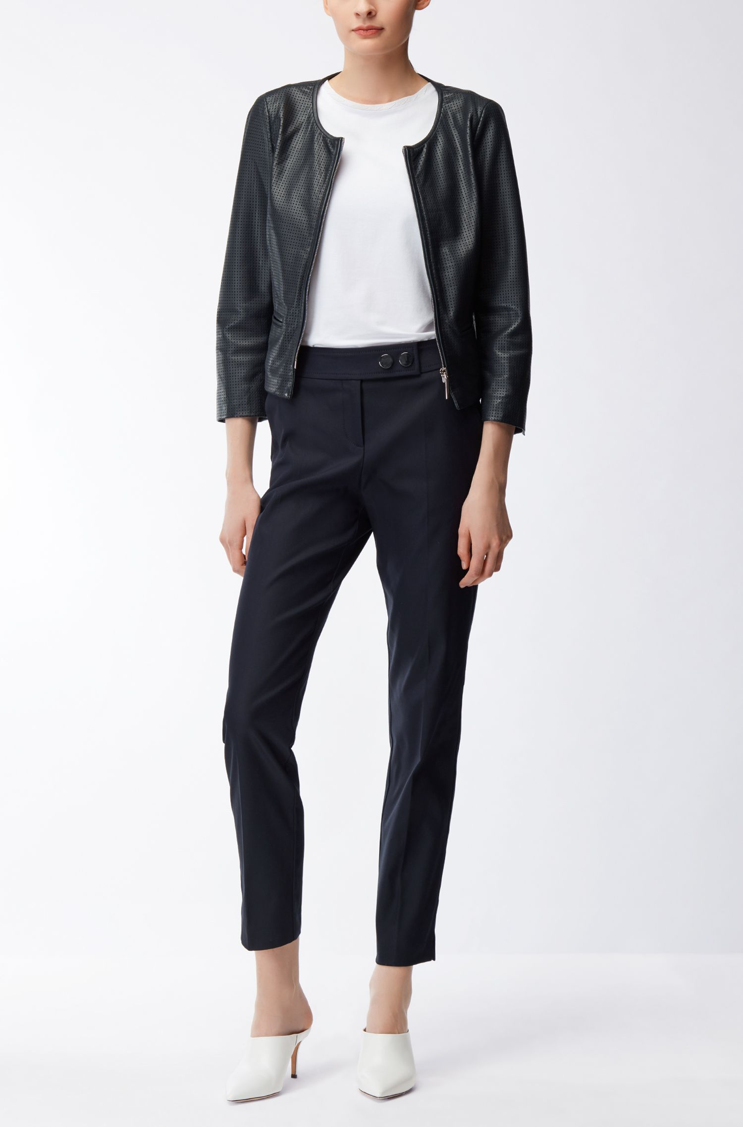 Collarless jacket in perforated lamb leather
