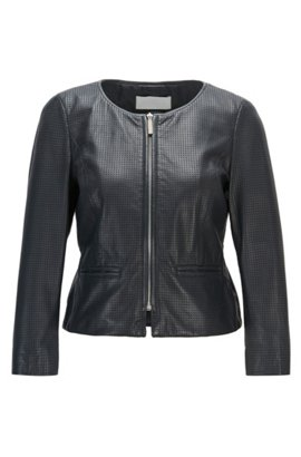 Collarless jacket in perforated lamb leather , Dark Blue