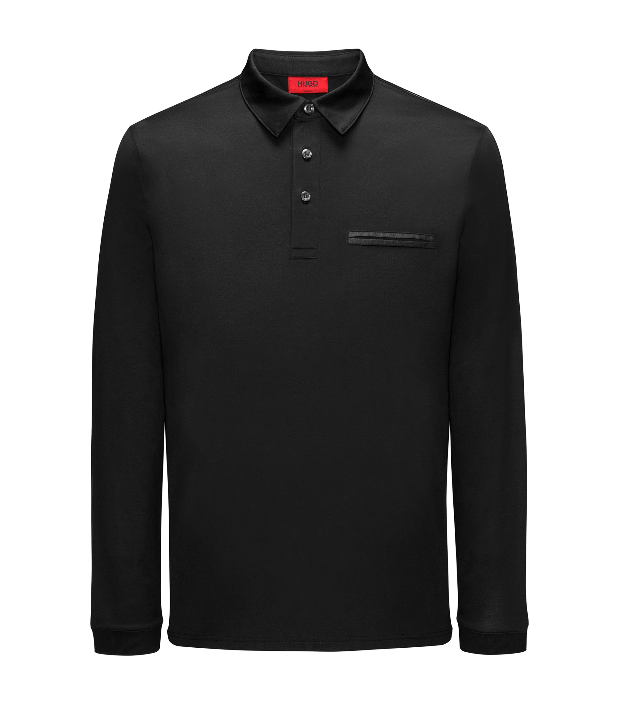 Long-sleeved cotton polo shirt with chest pocket, Black