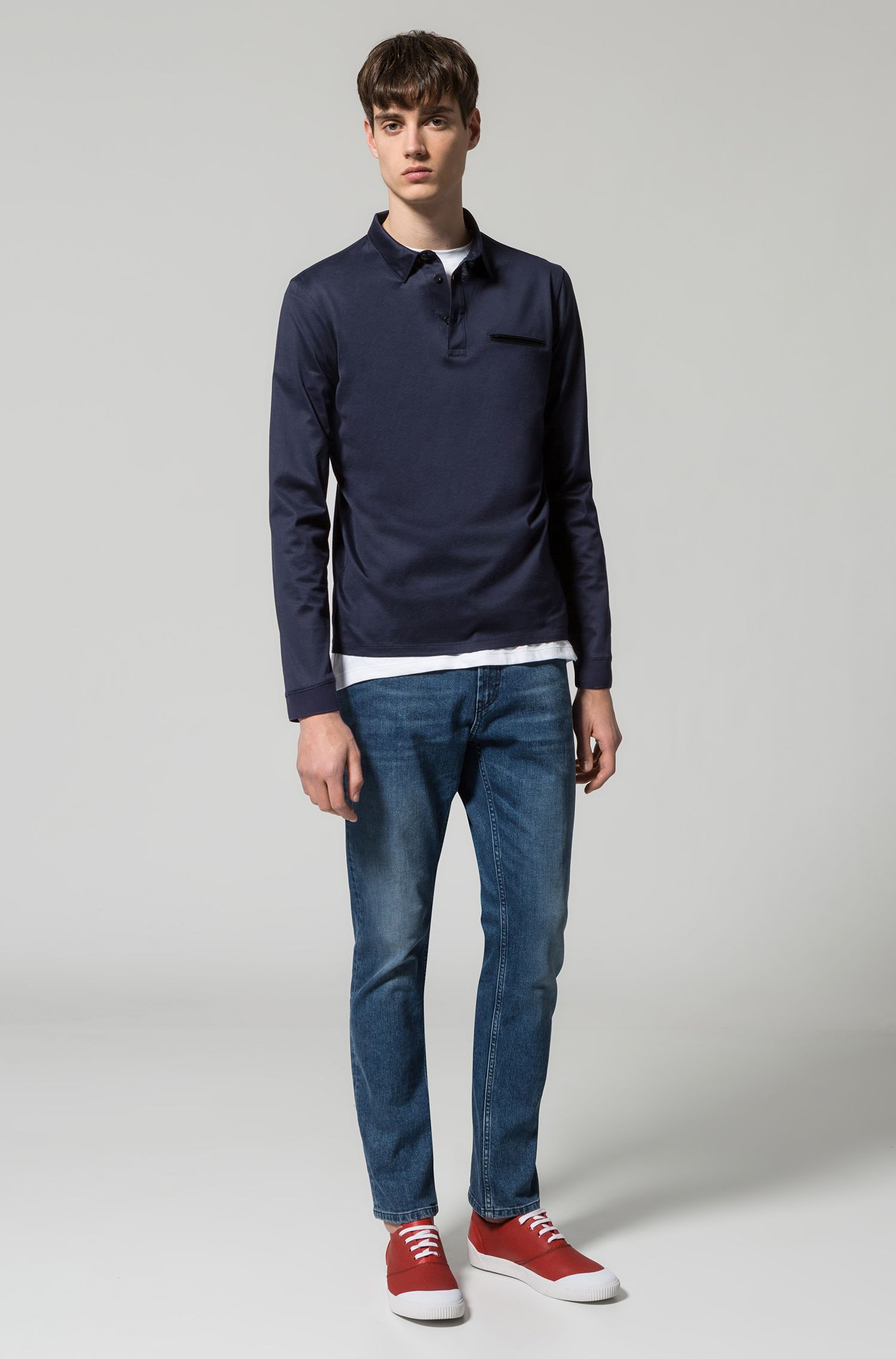 Long-sleeved cotton polo shirt with chest pocket