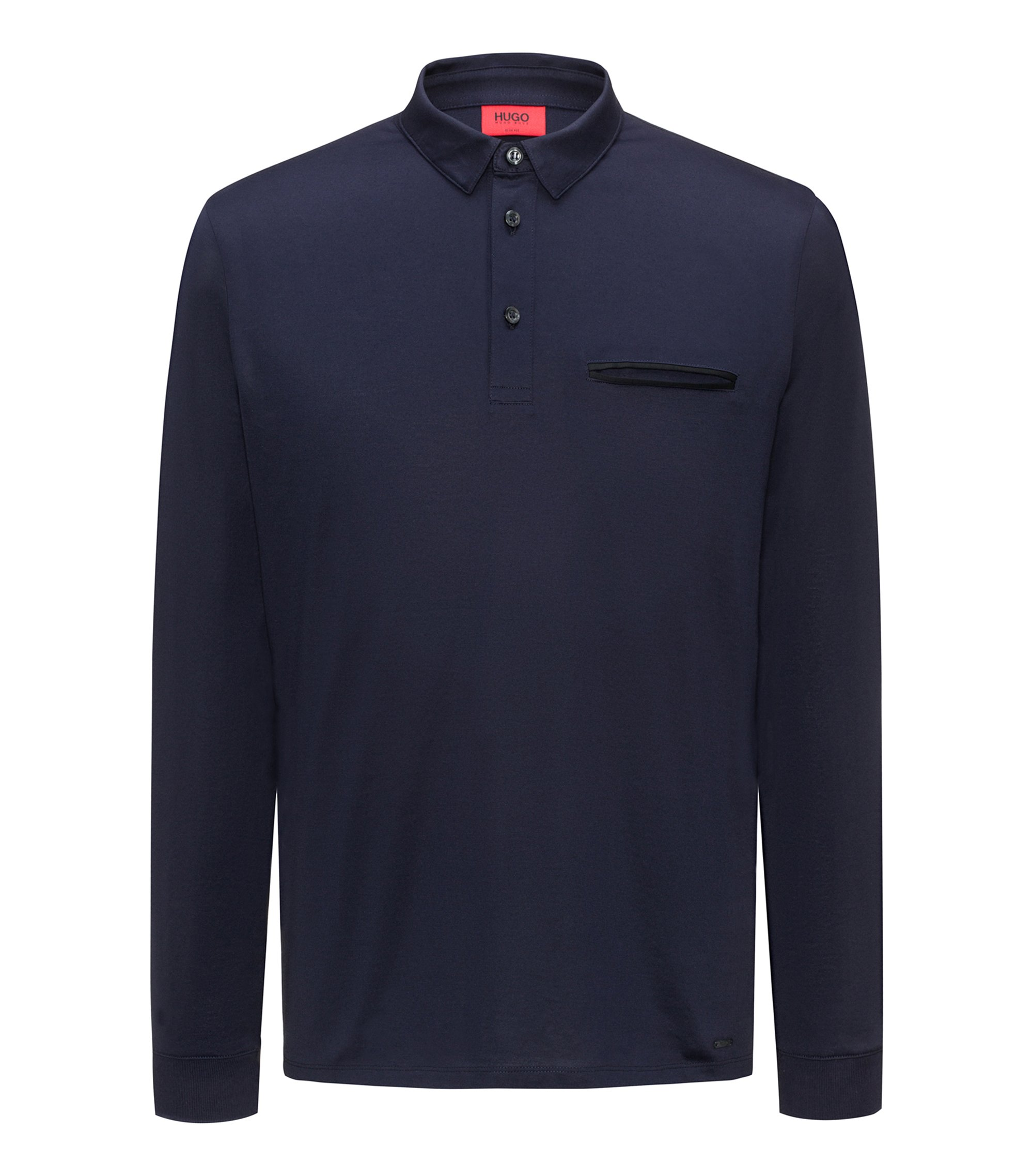 Long-sleeved cotton polo shirt with chest pocket, Dark Blue