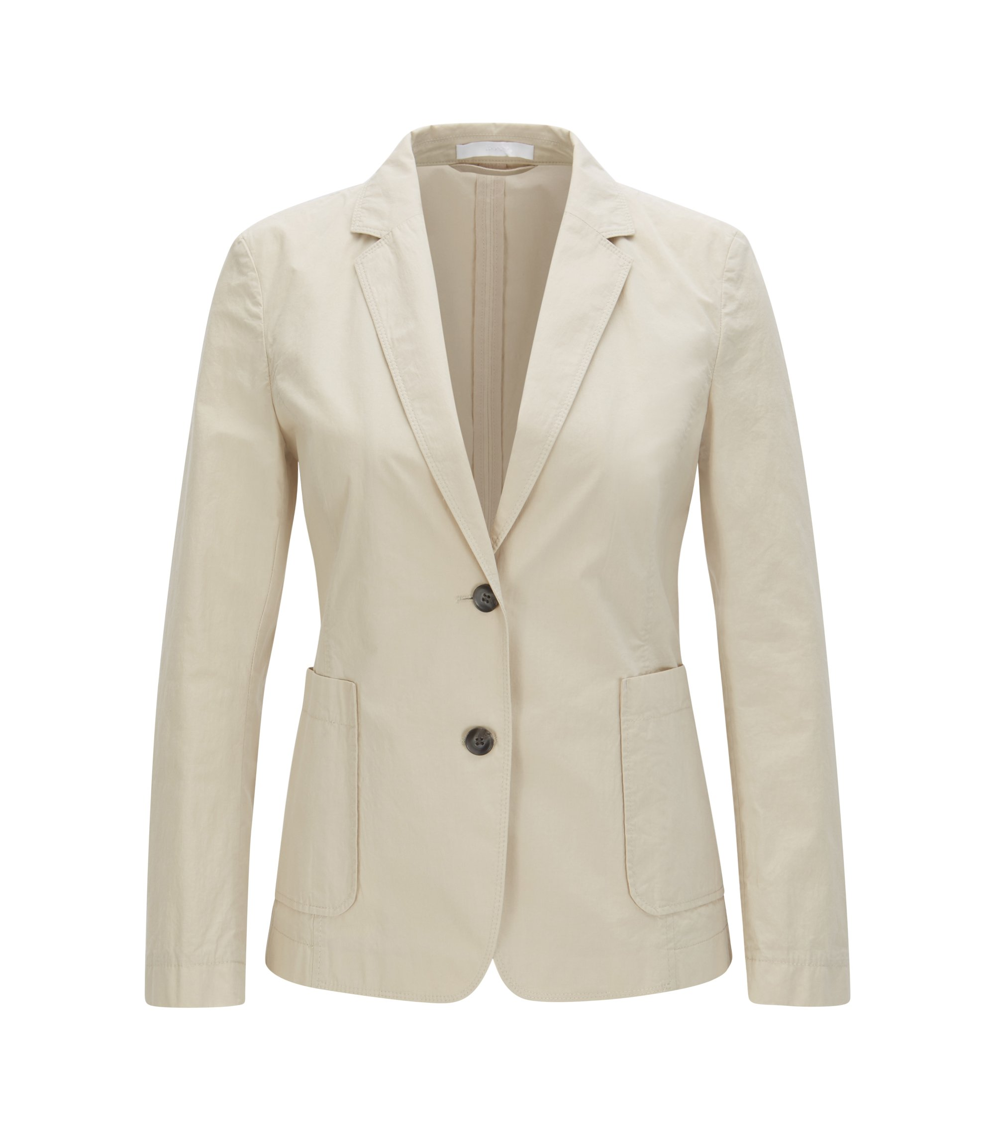 Regular-Fit Blazer aus Baumwoll-Mix, Hellbeige