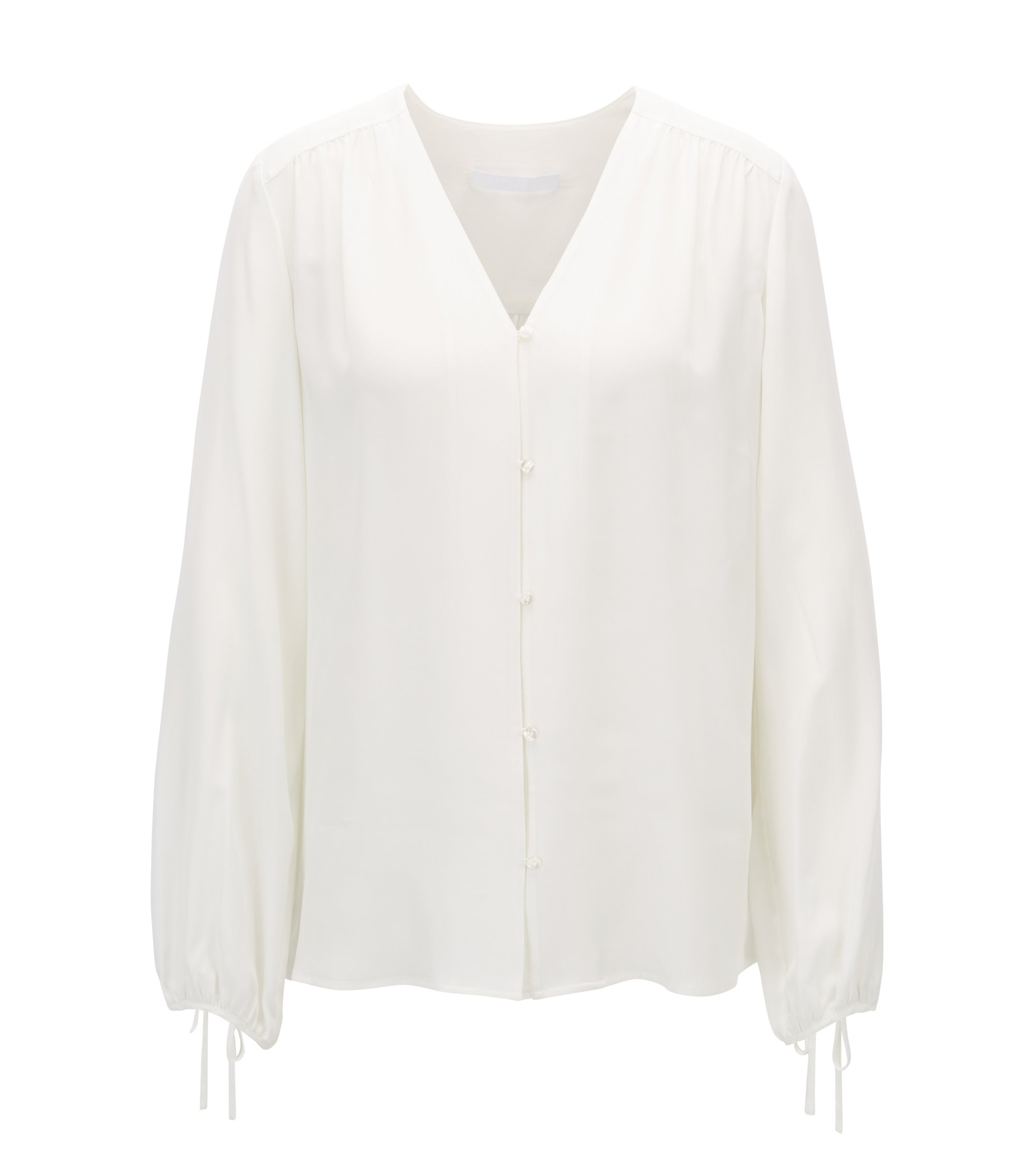 Blusa de sarga con mangas voluminosas, Natural