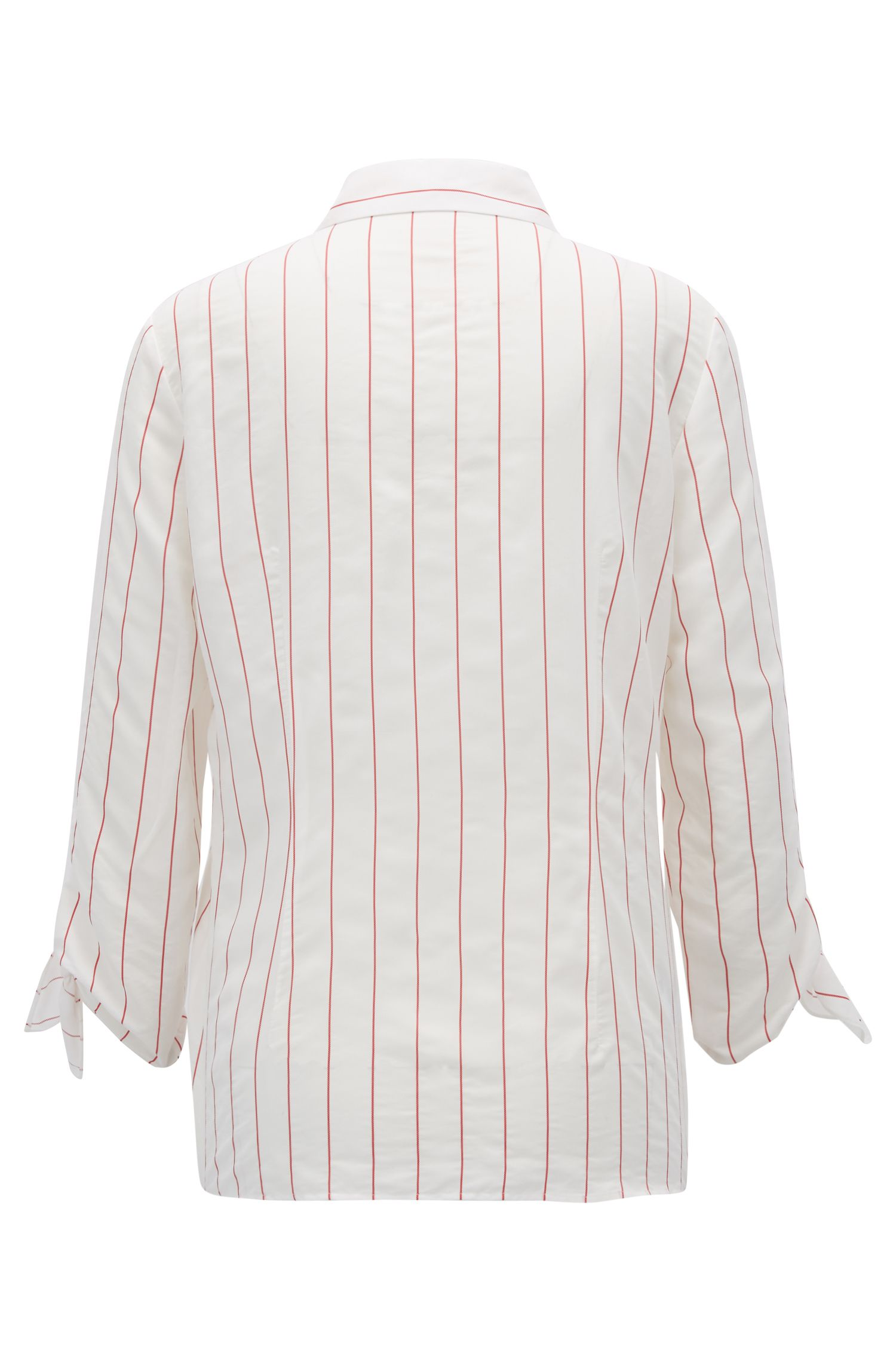 Maritime-striped blouse with tie-sleeve detail, Patterned