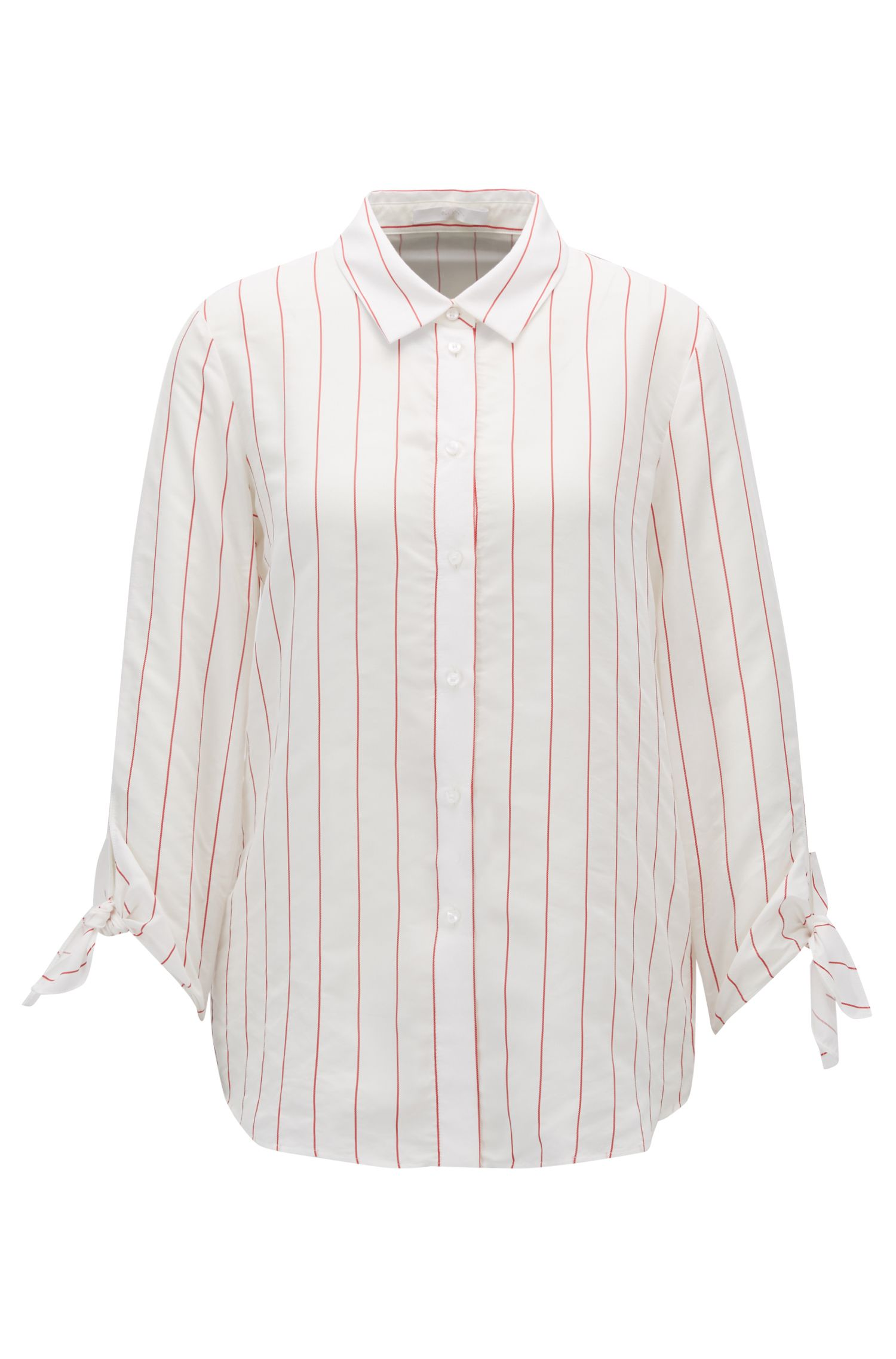 Maritime-striped blouse with tie-sleeve detail
