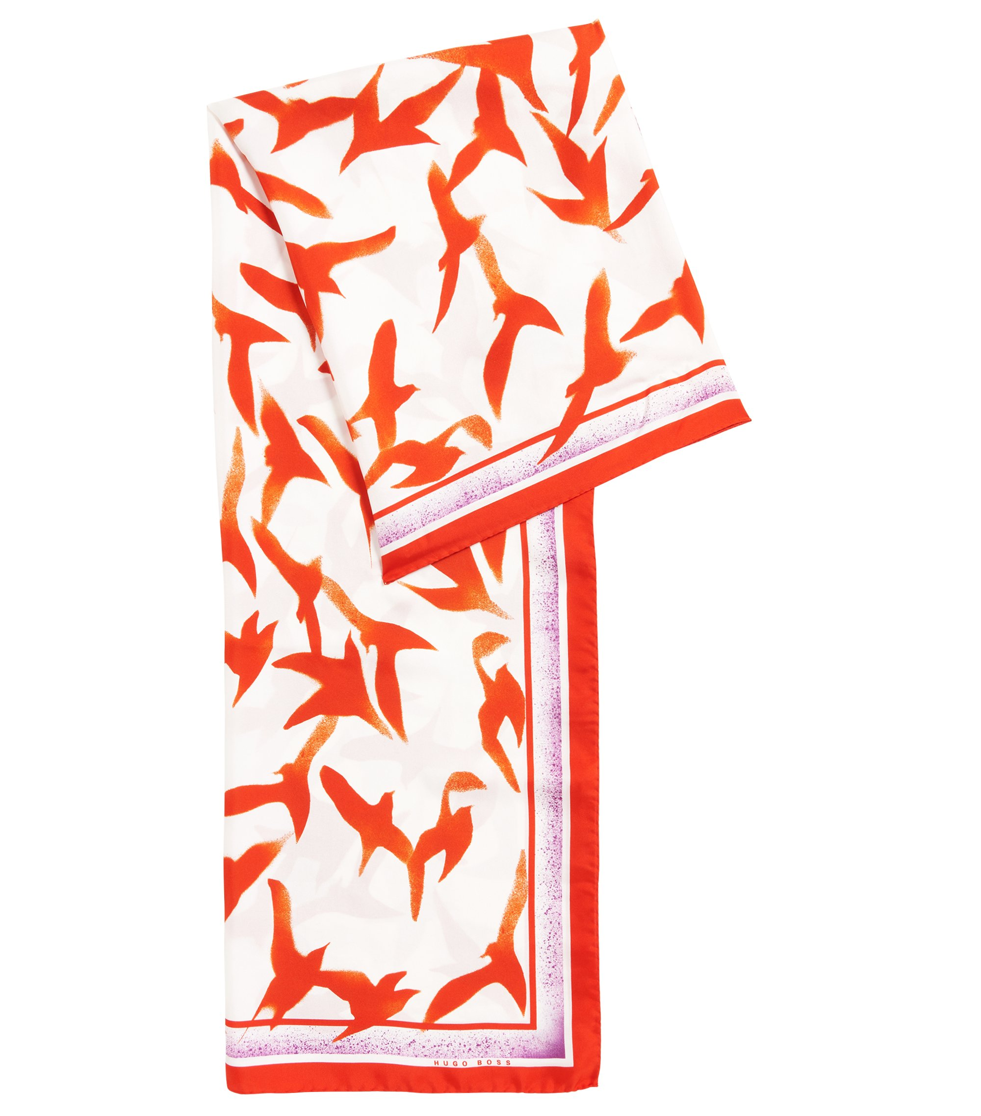 Seagull-print scarf in pure silk, Patterned