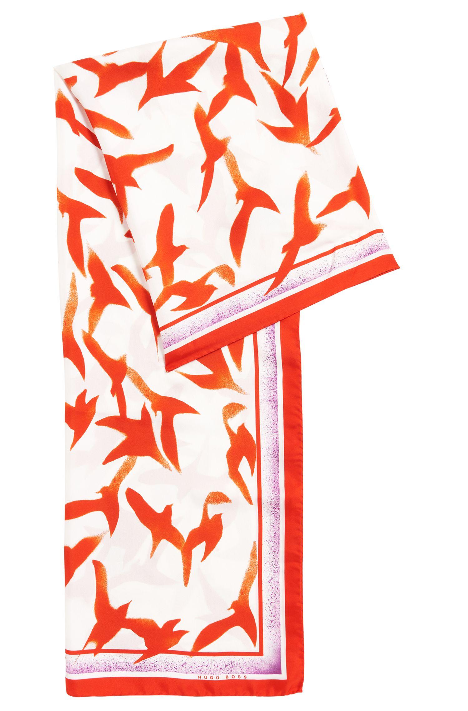 Foulard en pure soie à imprimé mouette