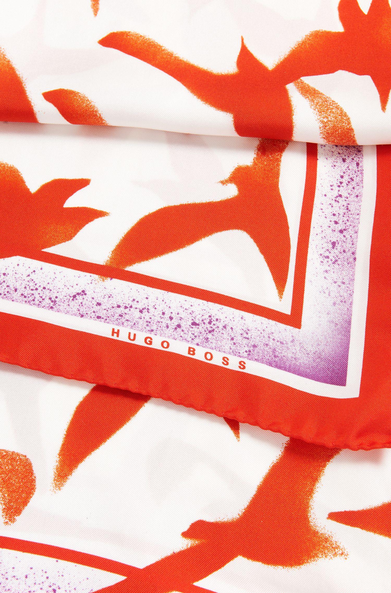 Seagull-print scarf in pure silk