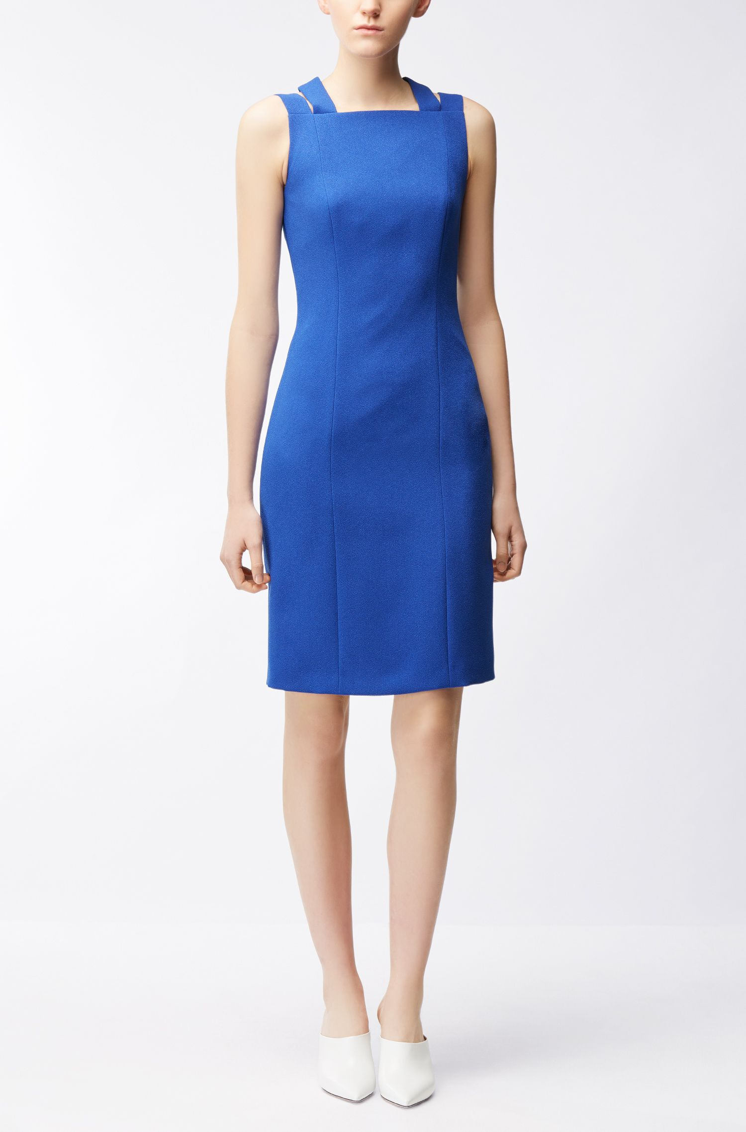 Tailored crinkle-crepe dress with crossed back straps BOSS