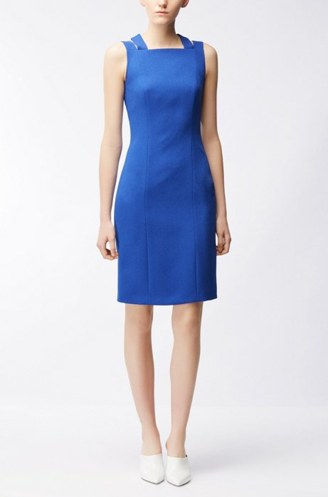 Tailored crinkle-crepe dress with crossed back straps BOSS 100% Guaranteed Sale Online FX7Nt