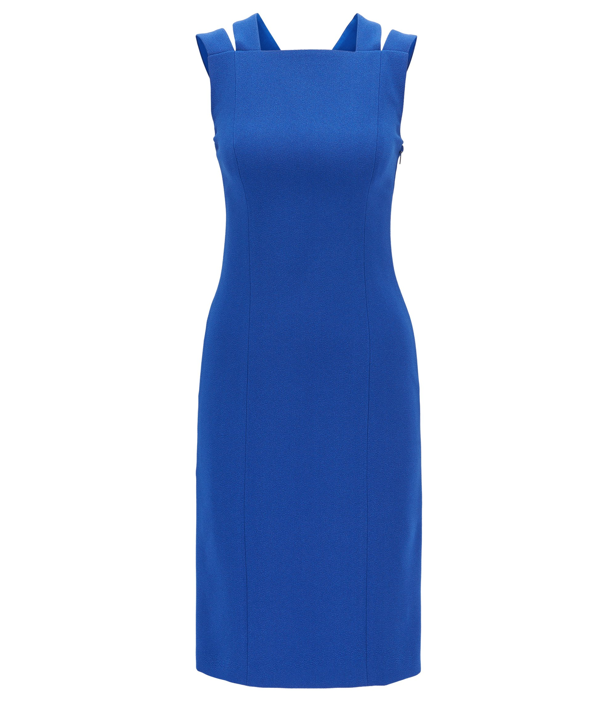 Tailored crinkle-crepe dress with crossed back straps, Blue