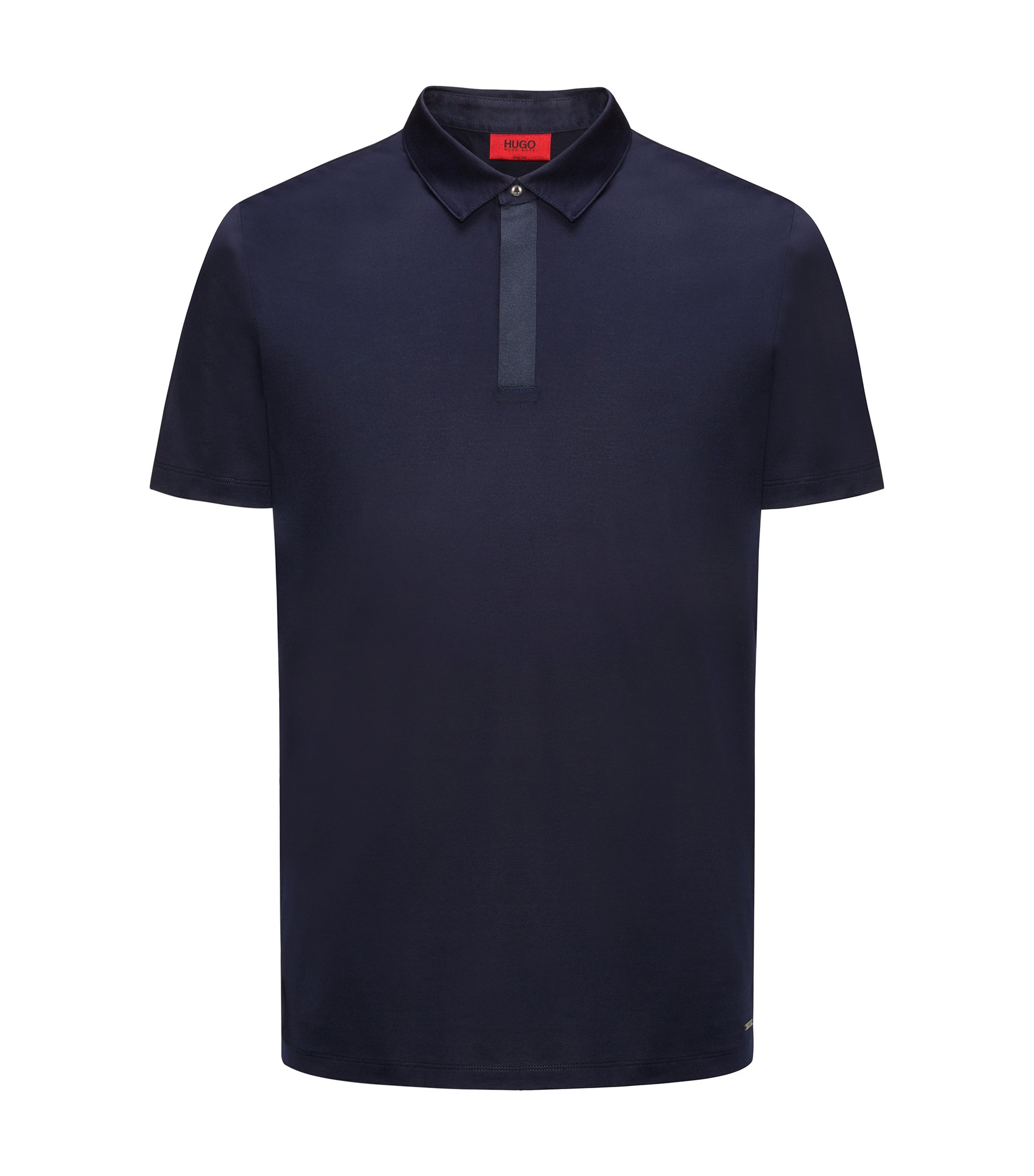 Cotton polo shirt in a slim fit, Dark Blue