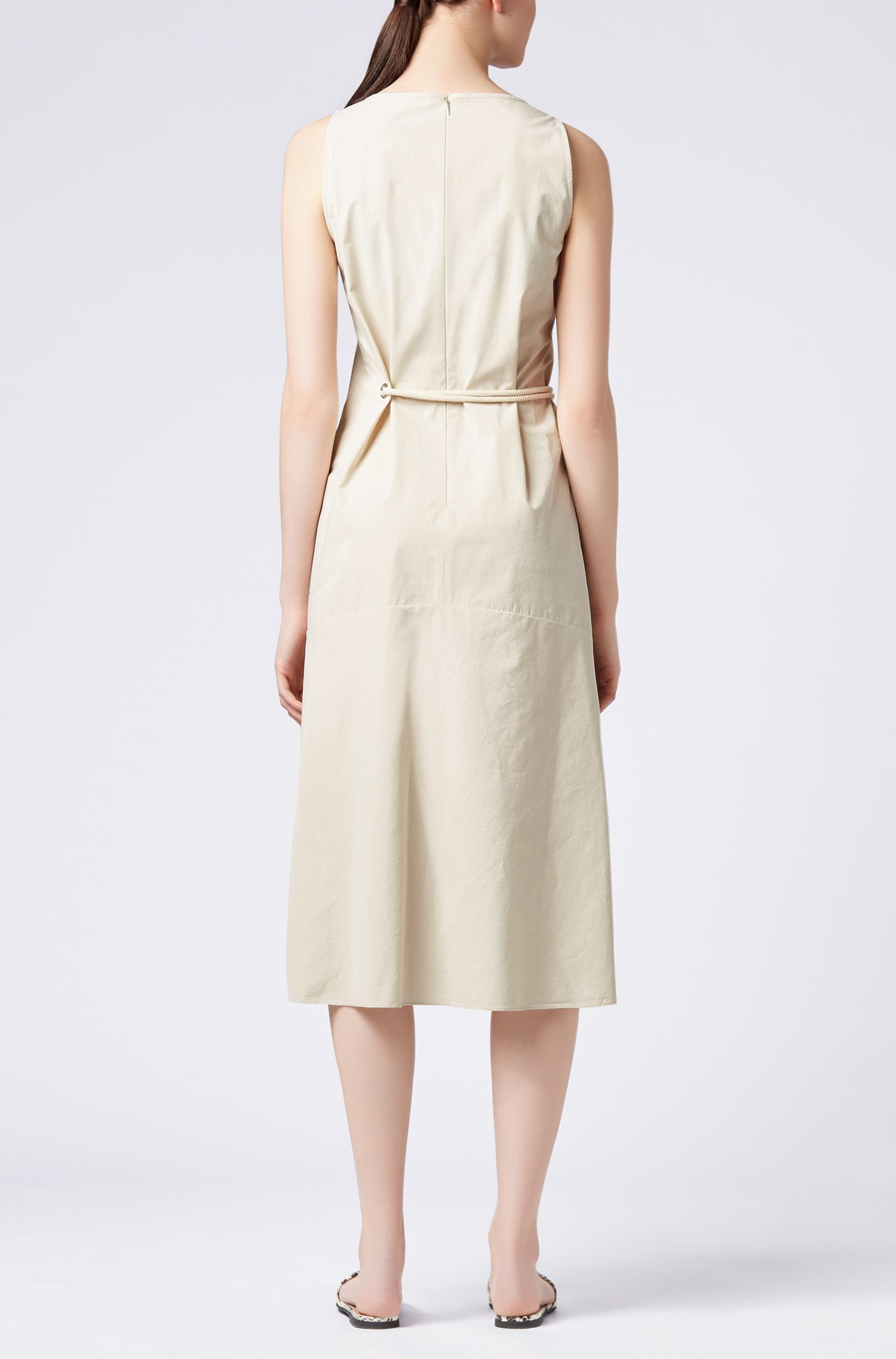 Cotton-blend dress with volant detail