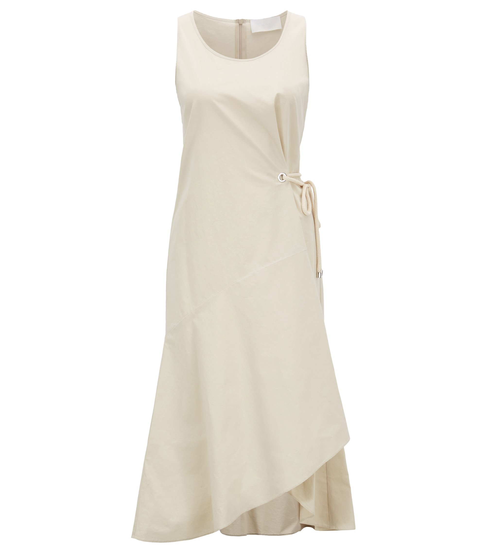 Cotton-blend dress with volant detail, Open Beige