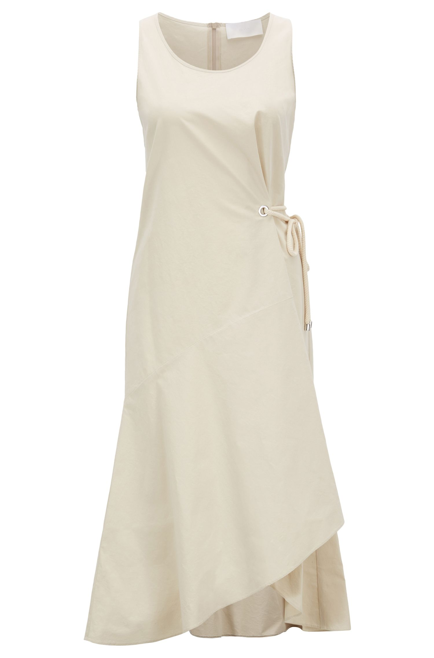 Cotton-blend dress with volant detail