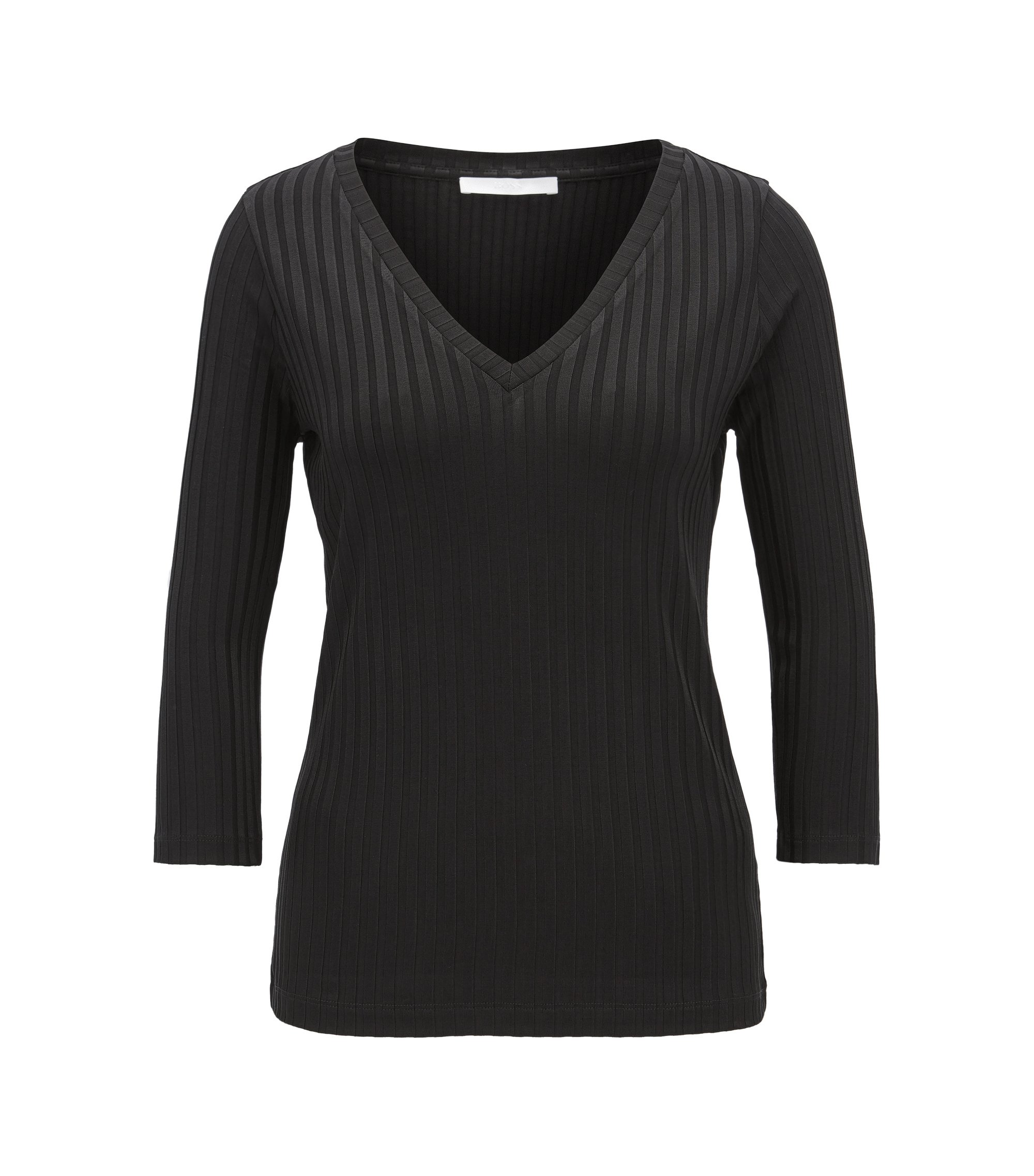 V-neck top in ribbed jersey, Black