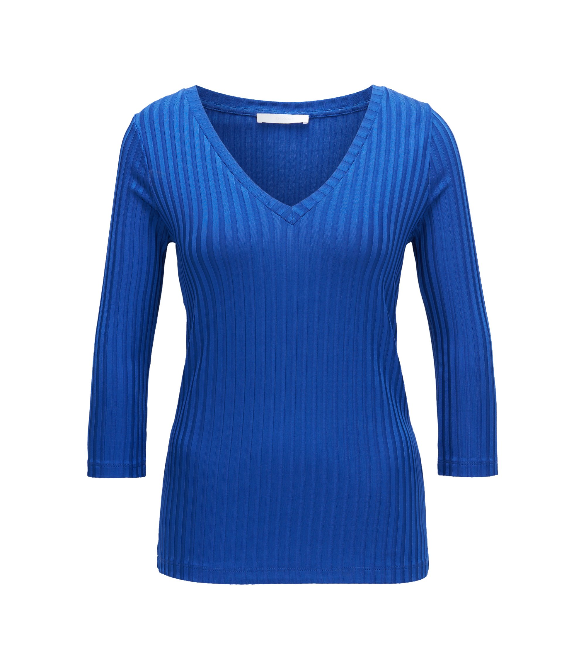 V-neck top in ribbed jersey, Blue