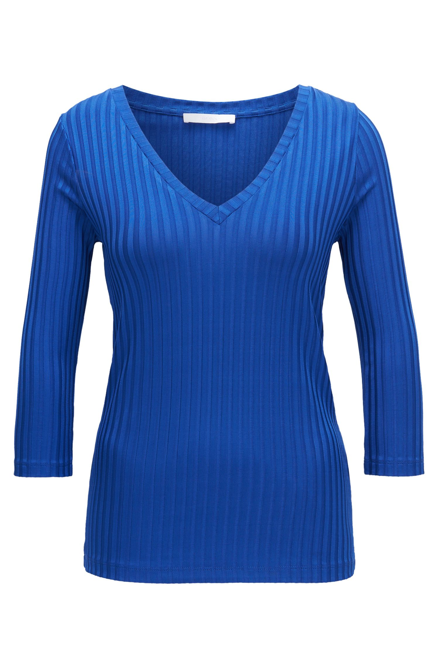 V-neck top in ribbed jersey