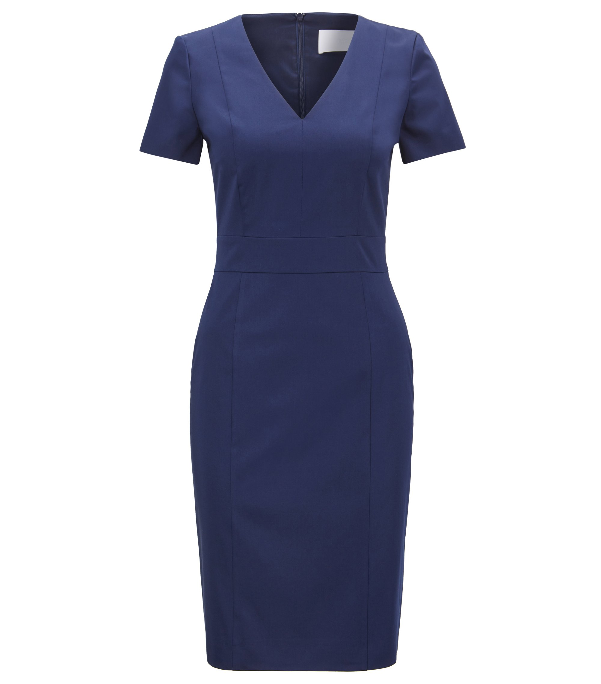 V-neck shift dress in stretch cotton, Blue