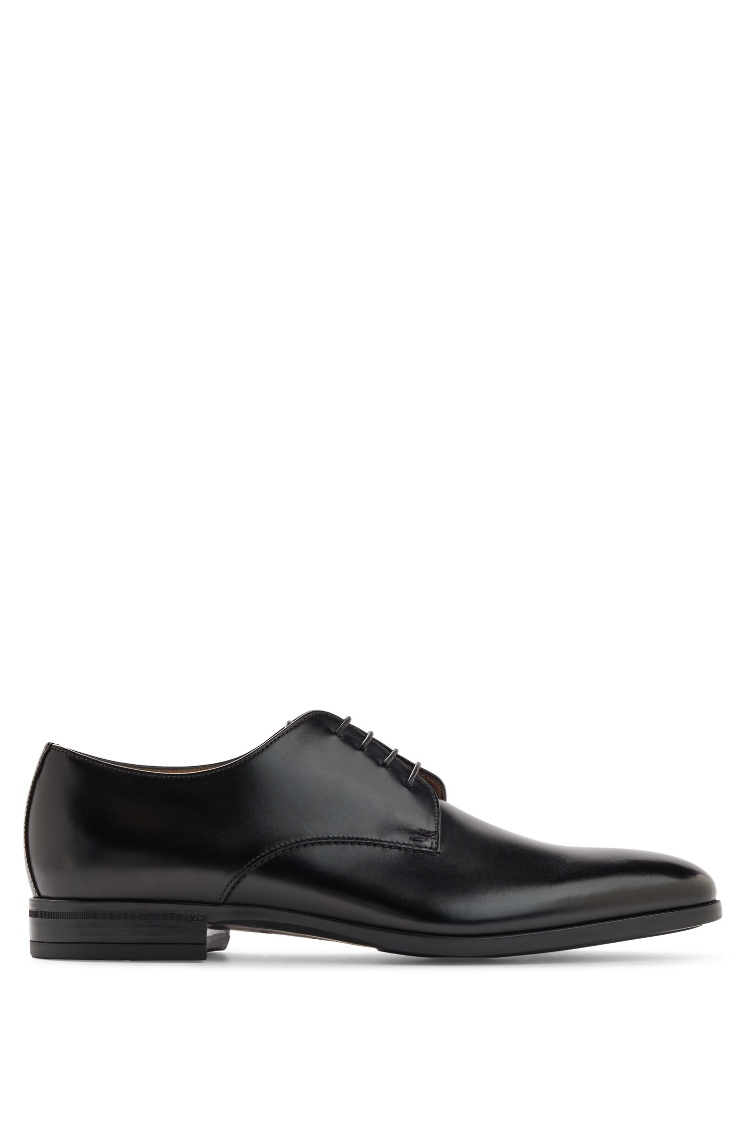 Italian-made Derby shoes in vegetable-tanned leather, Black