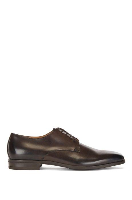 Zapatos derby elaborados en Italia con piel de curtido vegetal, Marrón oscuro