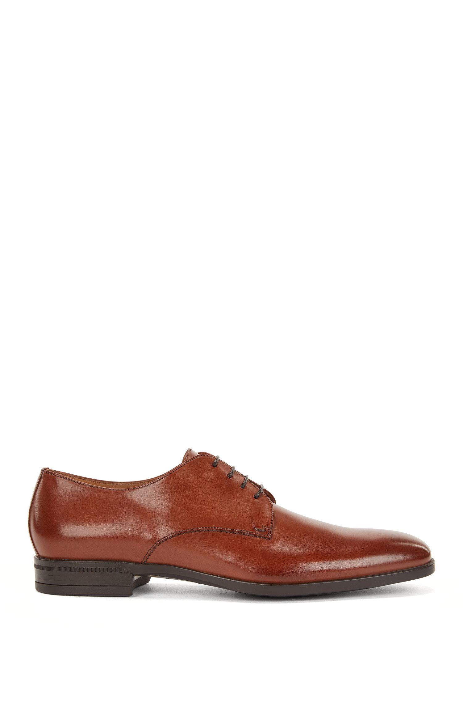 Zapatos Derby en piel pulida, Marrón