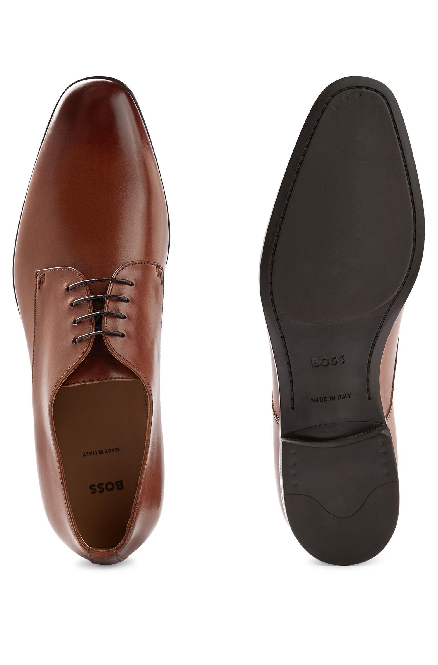 Scarpe derby in pelle brunita, Marrone