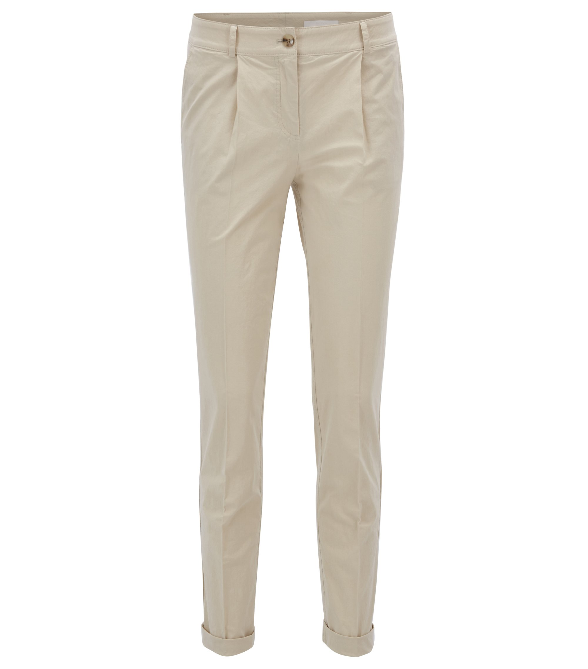 Cropped trousers in a cotton blend, Open Beige