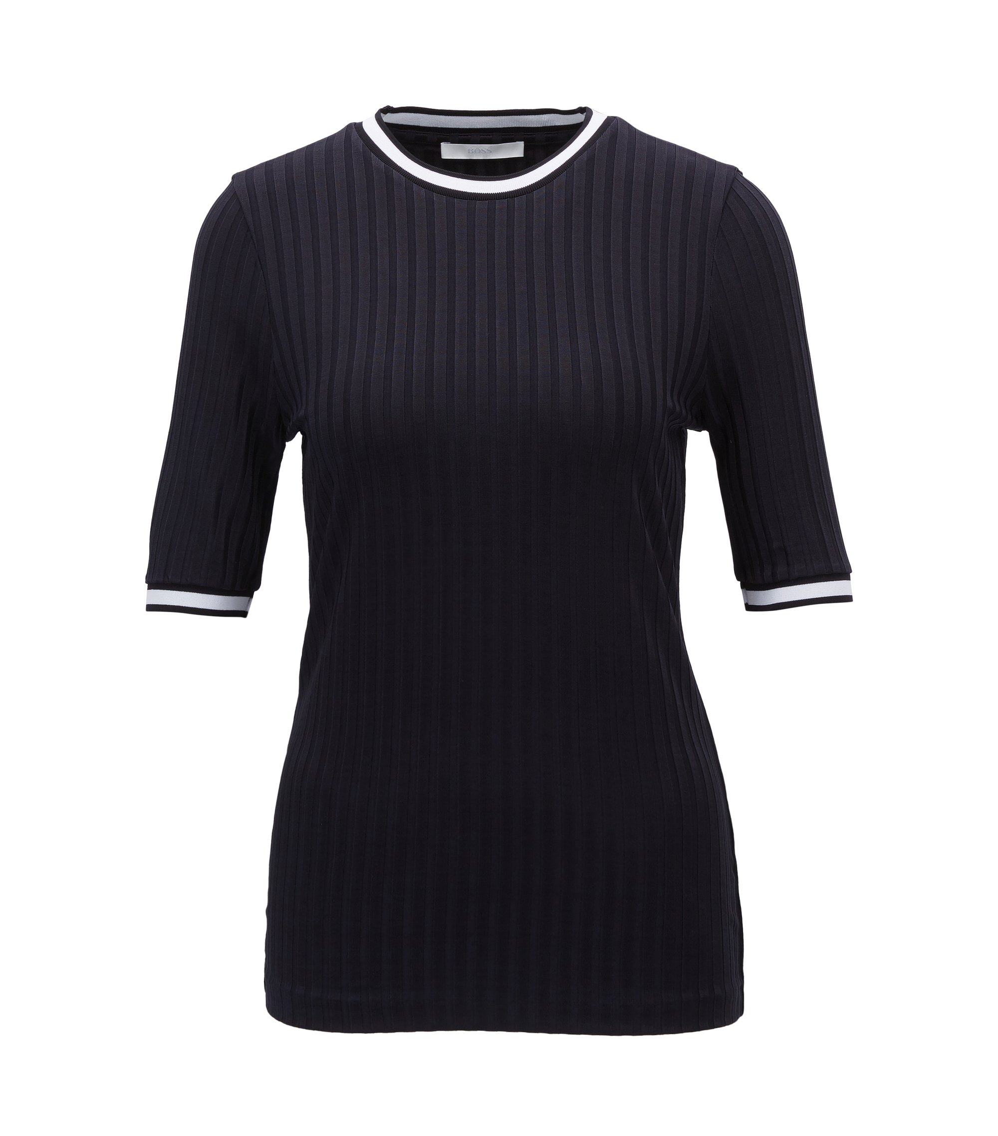 Ribbed top in glossy stretch jersey, Dark Blue