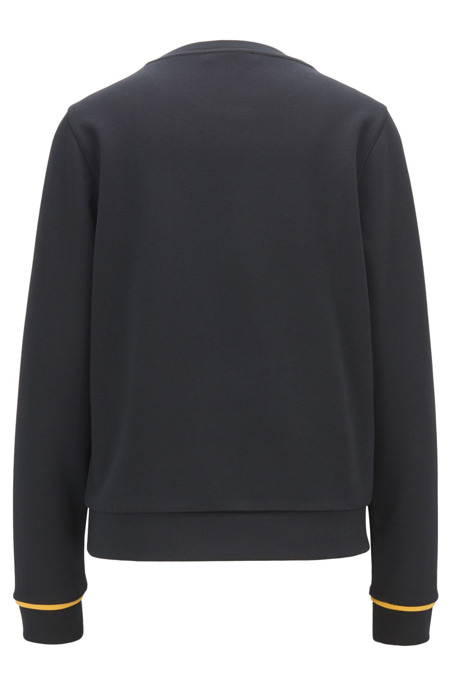 Sweater with logo design in stretch scuba, Dark Blue