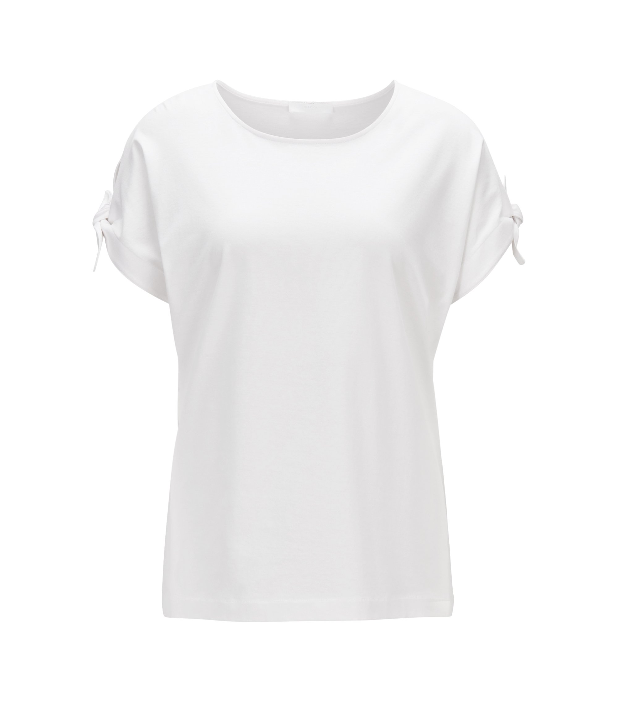 Mercerised-cotton top with knotted sleeves, Natural