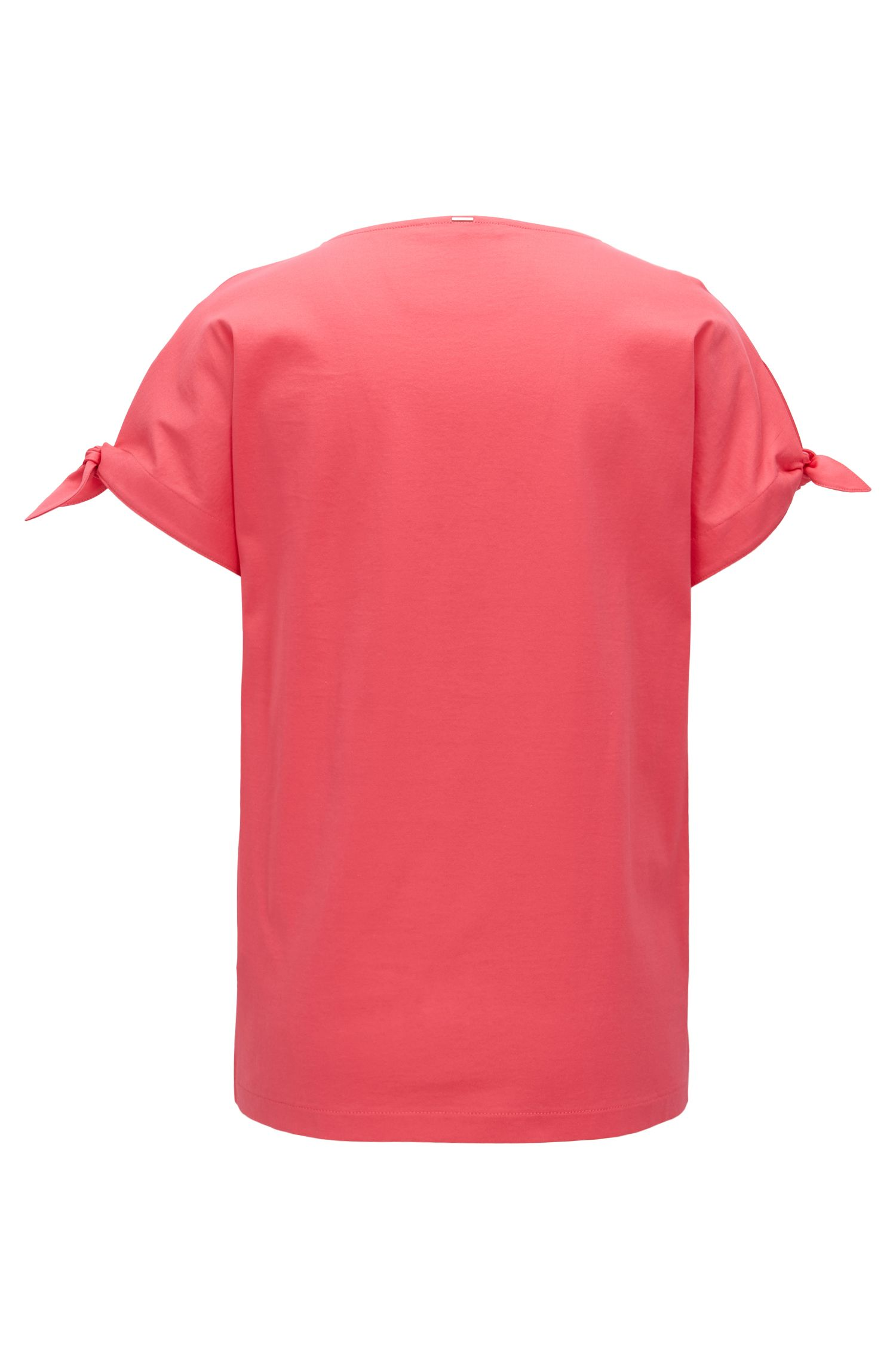 Mercerised-cotton top with knotted sleeves