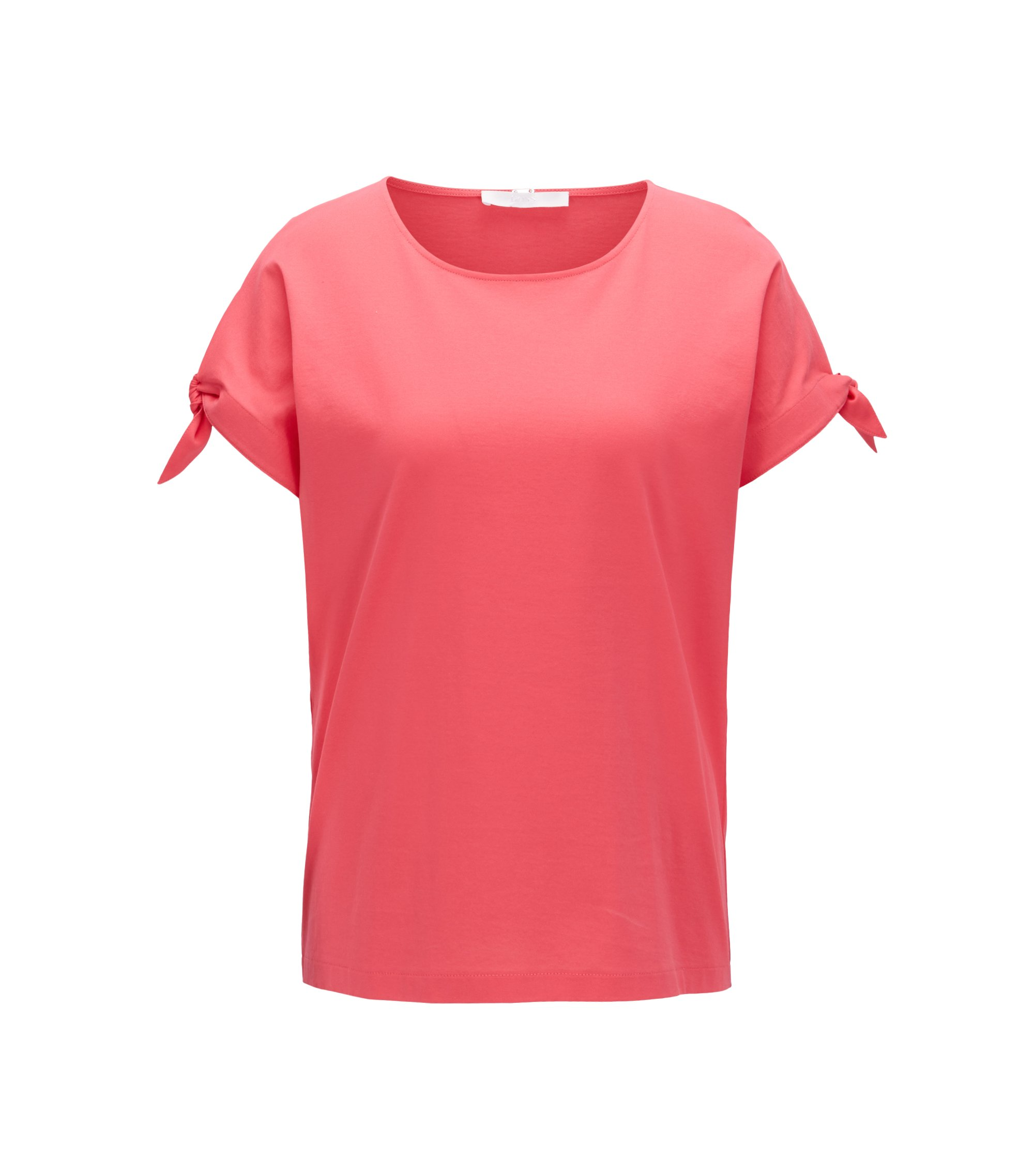 Mercerised-cotton top with knotted sleeves, Open Pink