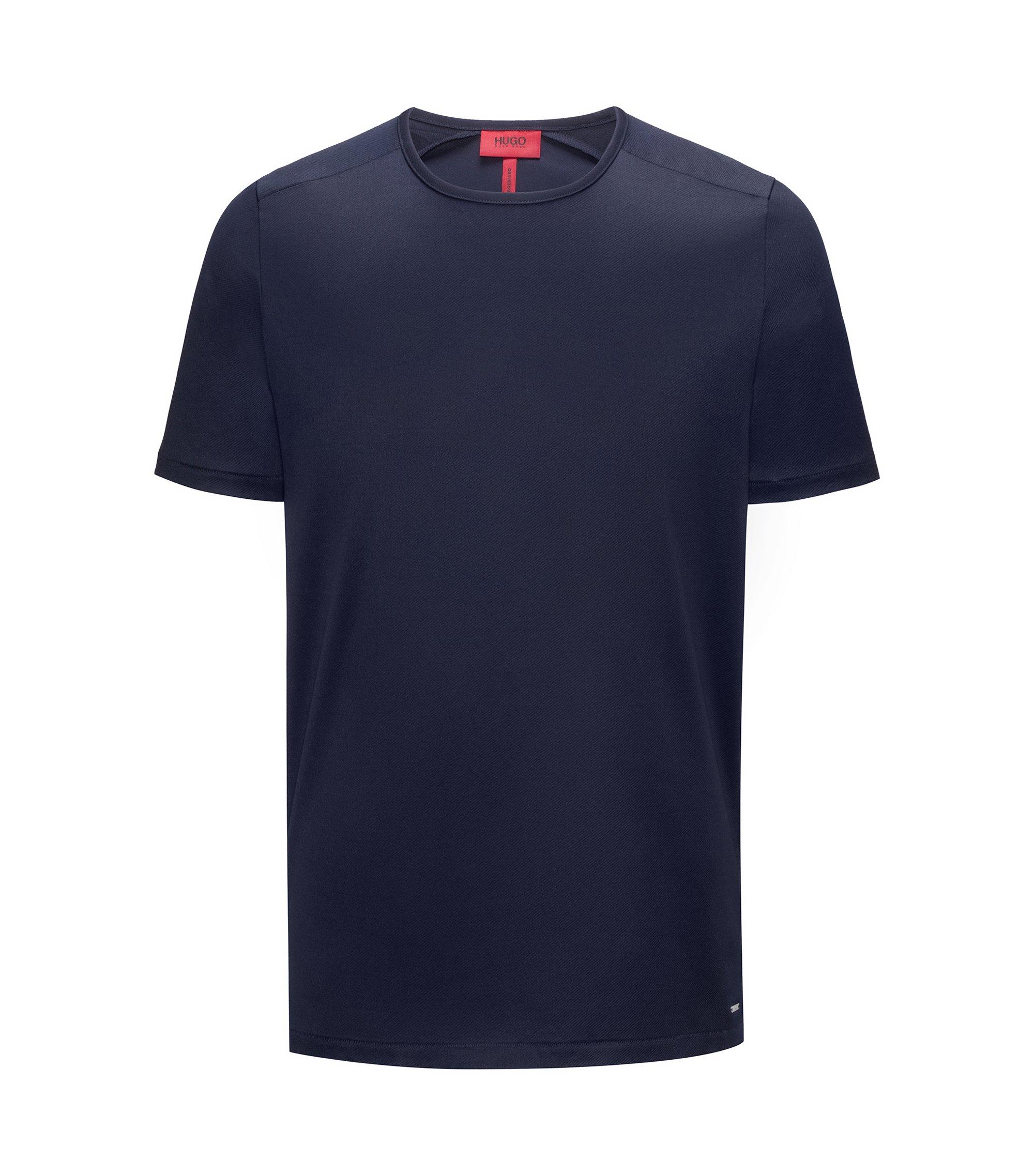T-shirt à col ras-du-cou en sergé de coton mercerisé interlock, Bleu foncé